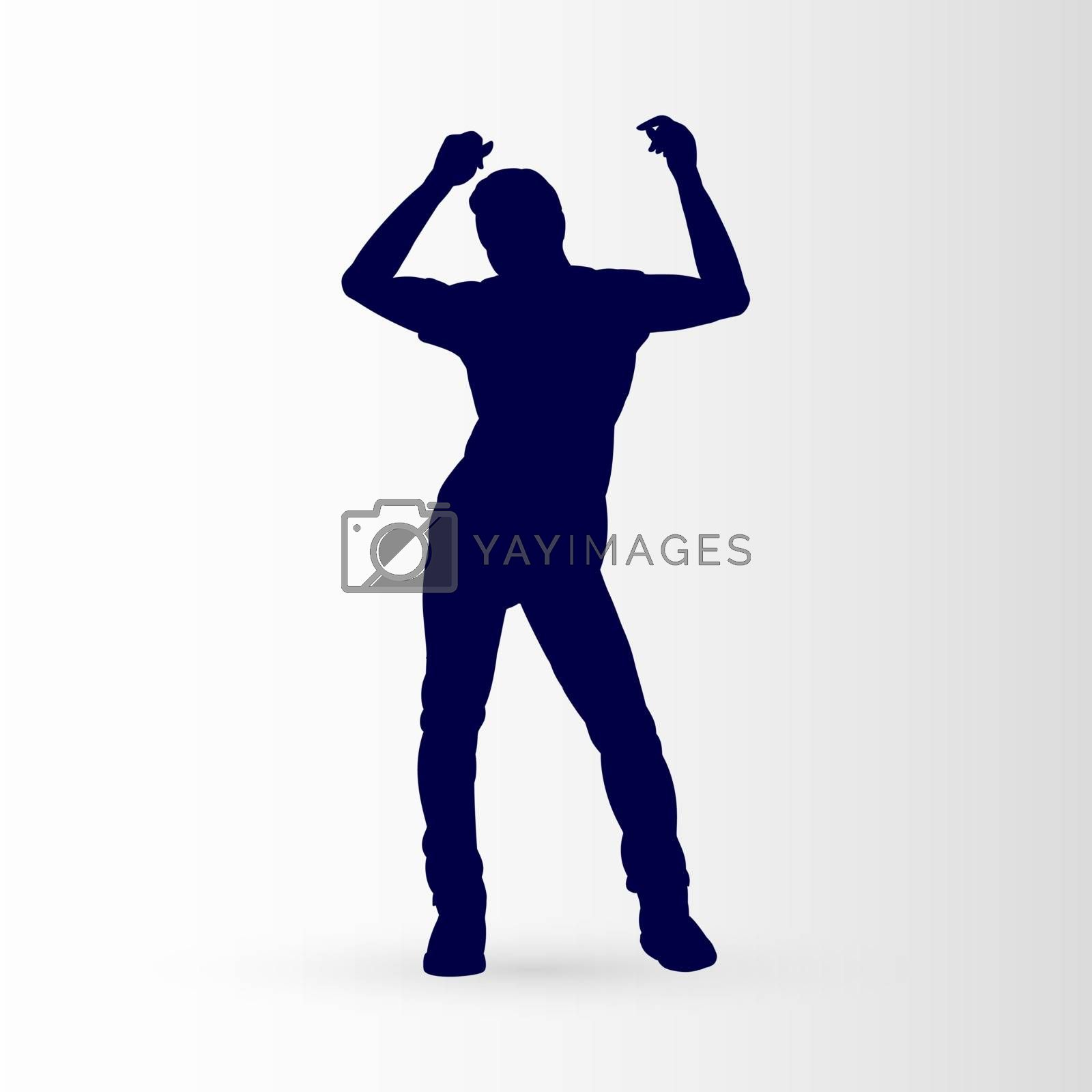 Modern Style Dancer Posing Silhouette of a Man Dancer on a Gray