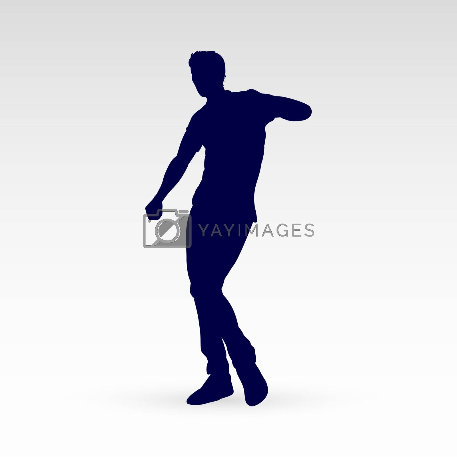 Modern Style Dancer Posing Silhouette of a Man Dancer Hip Hop Choreography on a Gray