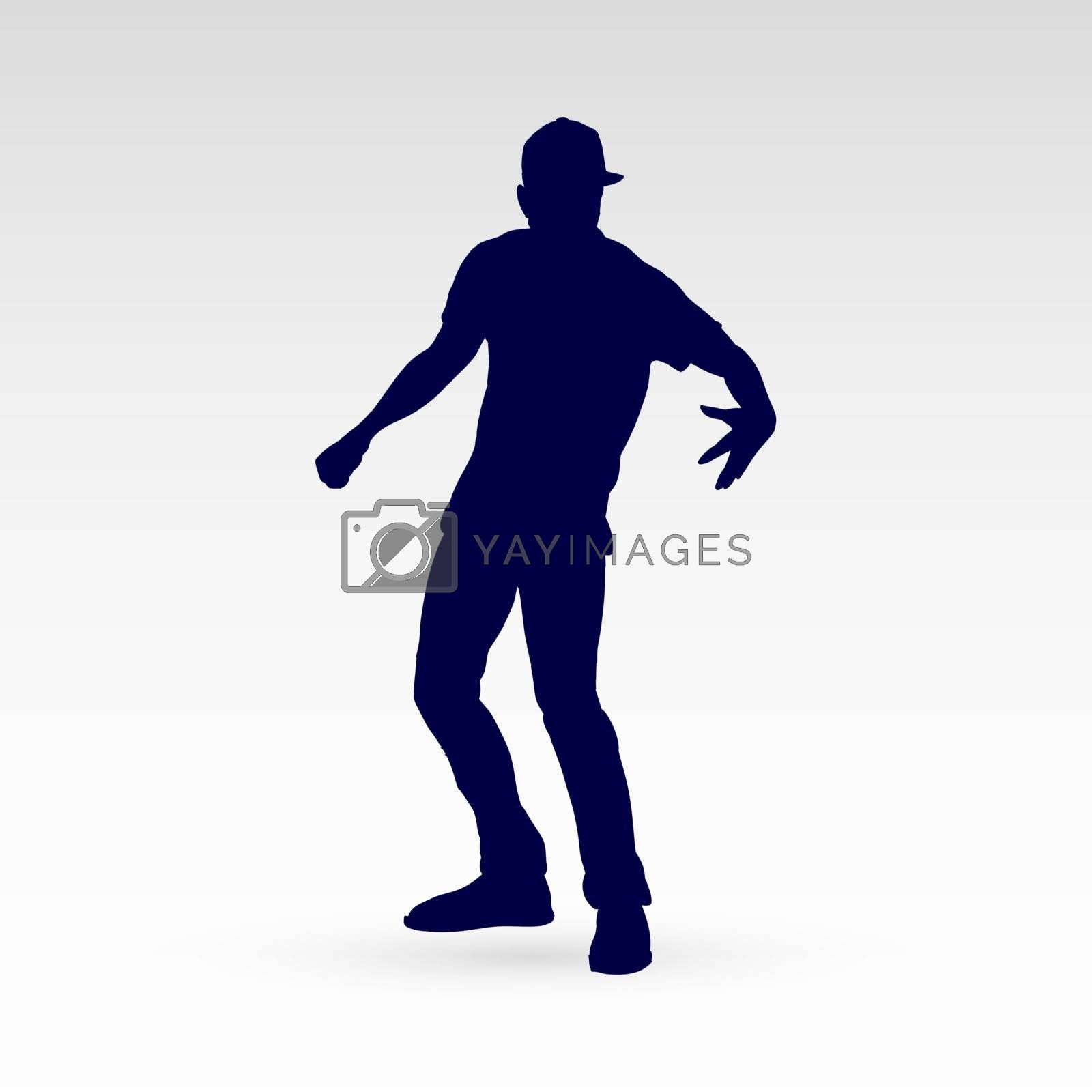 Modern Style Dancer Posing Silhouette of a Man Dancer on a Gray Background