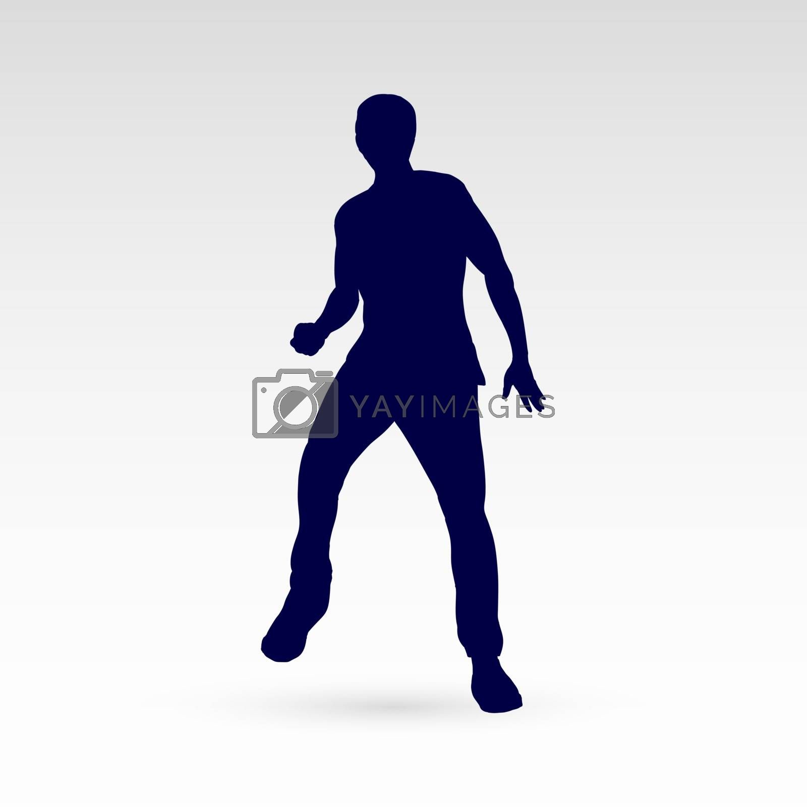 Modern Style Dancer Man Silhouette on a Gray Background