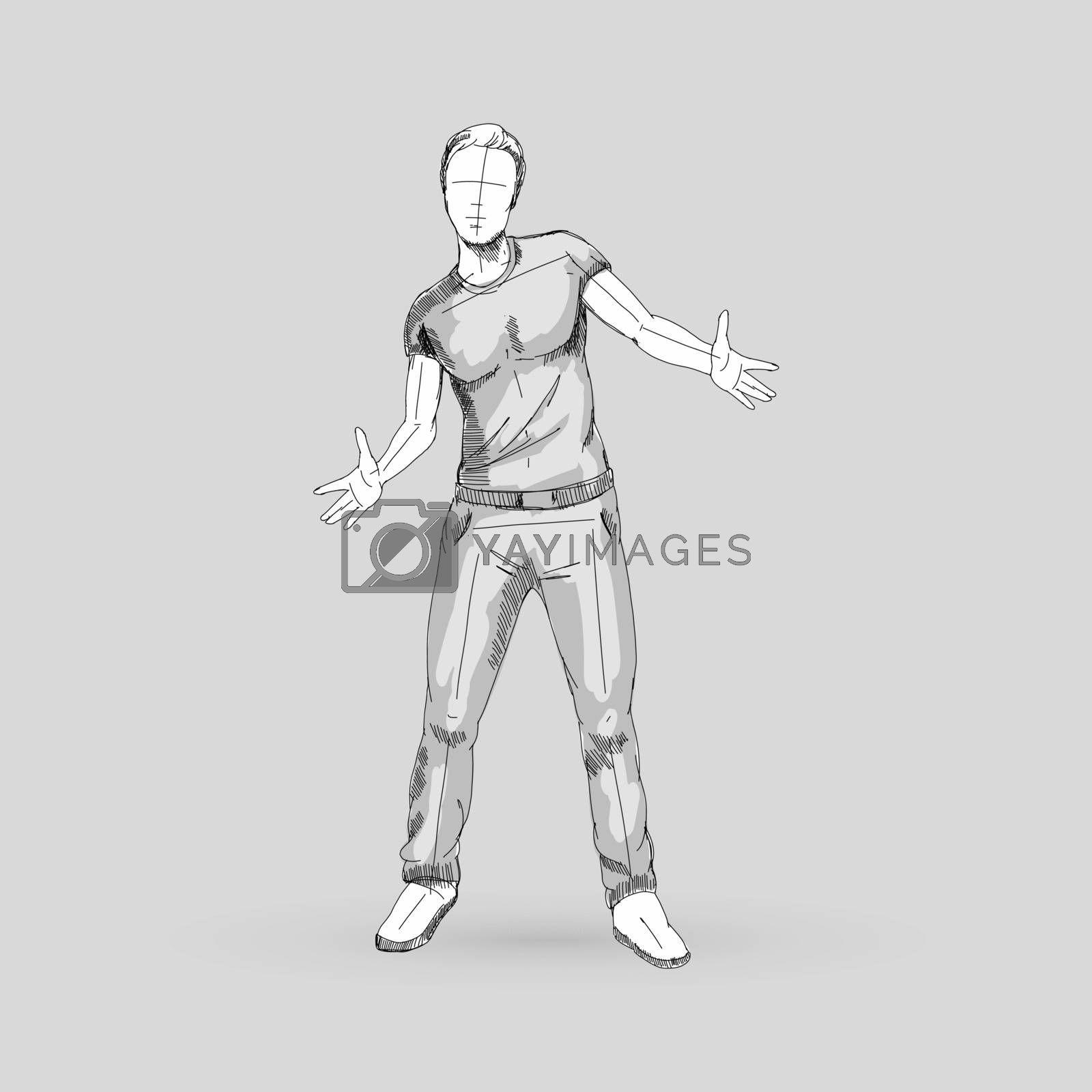 Modern Style Dancer Sketch of a Man Dancer Hip Hop Choreography