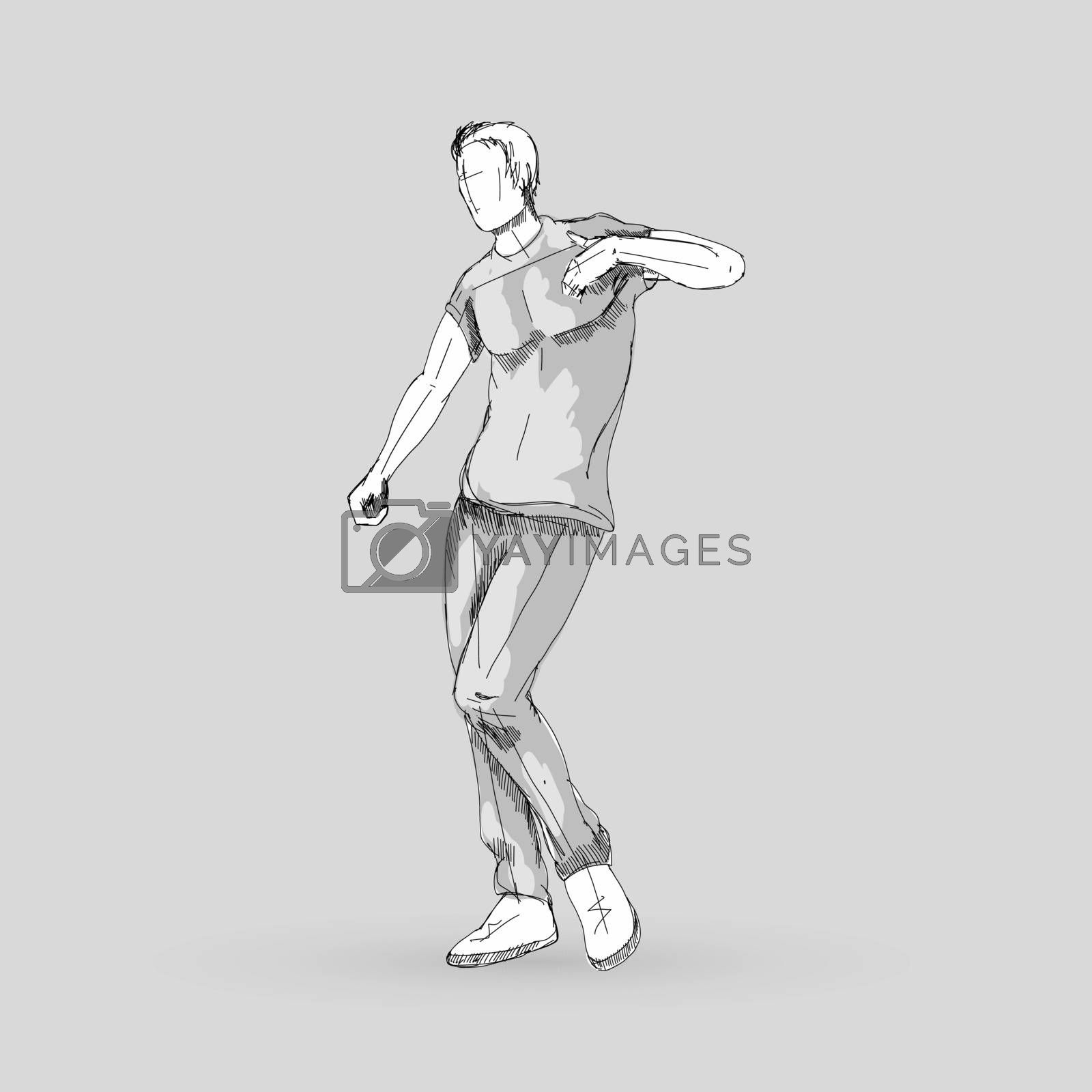 Modern Style Dancer Posing Sketch of a Man Dancer Hip Hop Choreography on a Gray