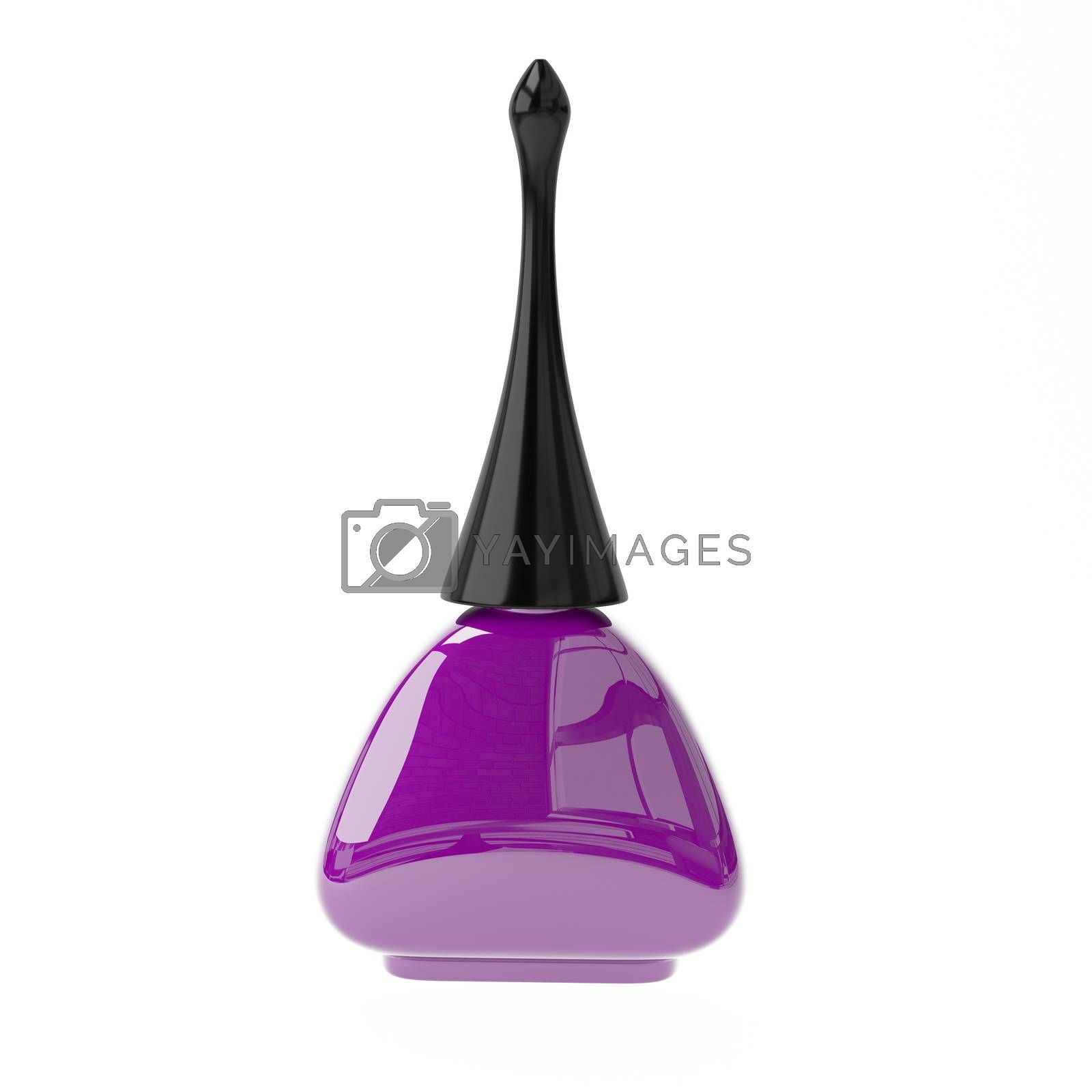 3D Illustration Purple Nail Polish on a White Background