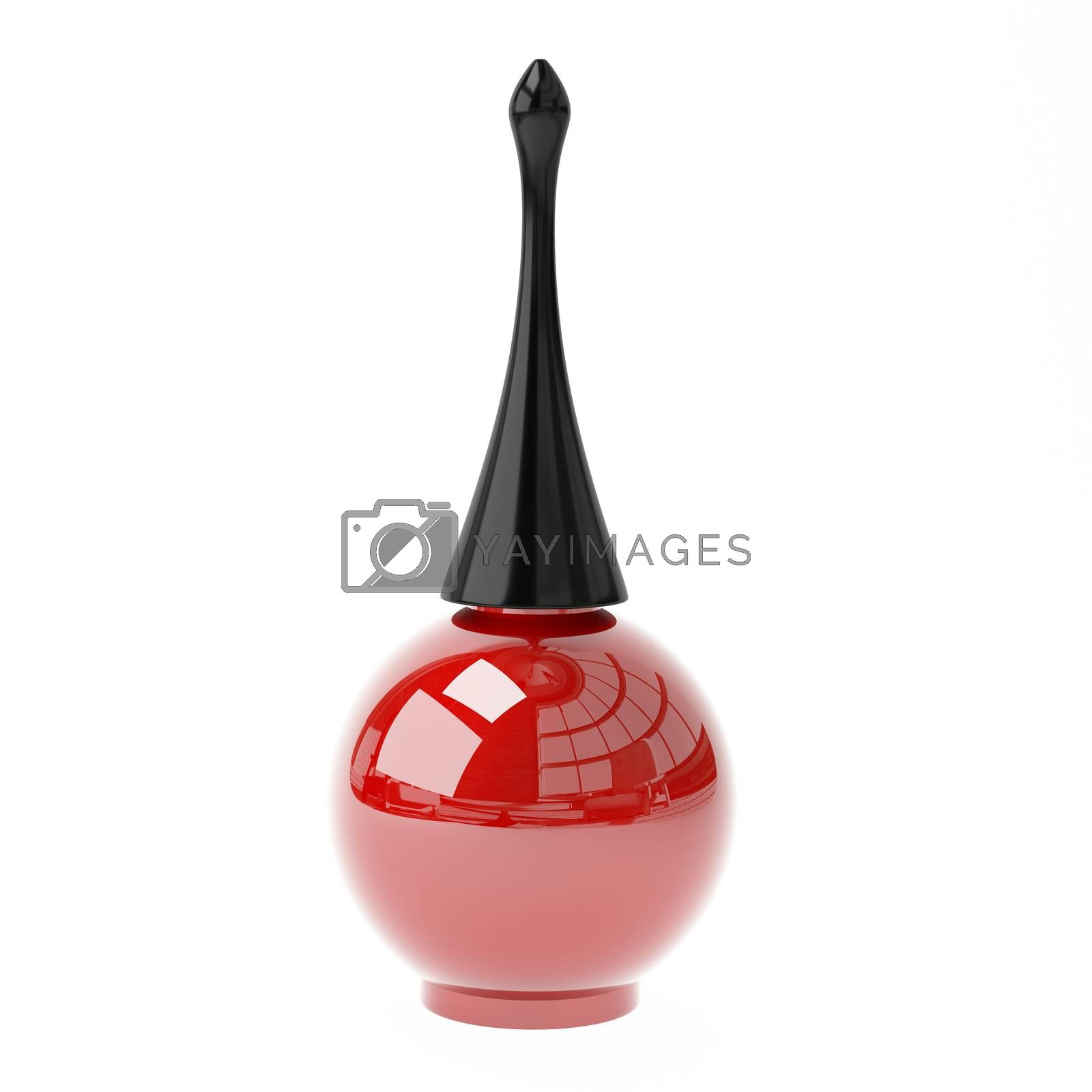 3D Illustration Red Nail Polish on a White Background