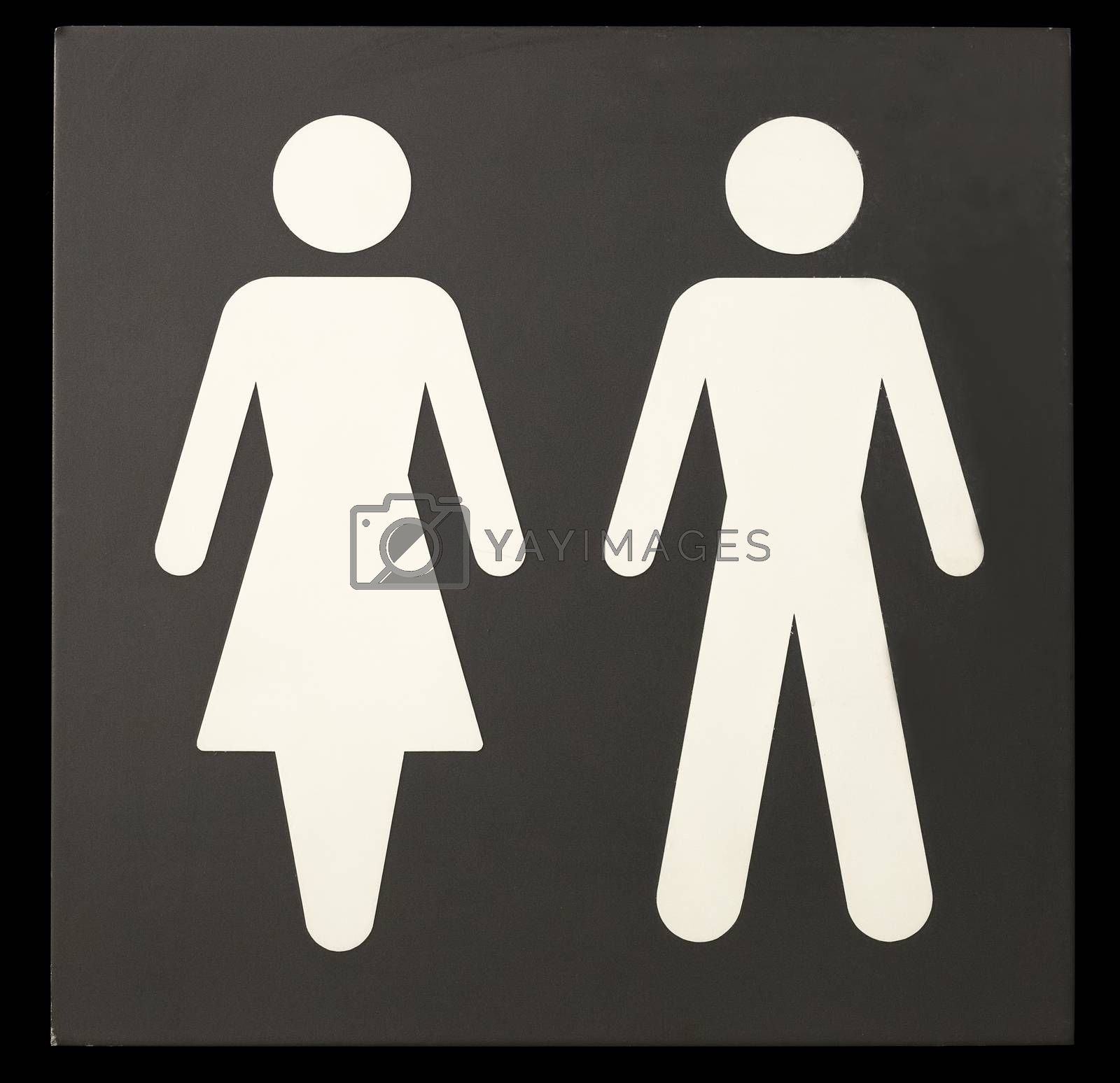 Man and Woman on Sign with black background.
