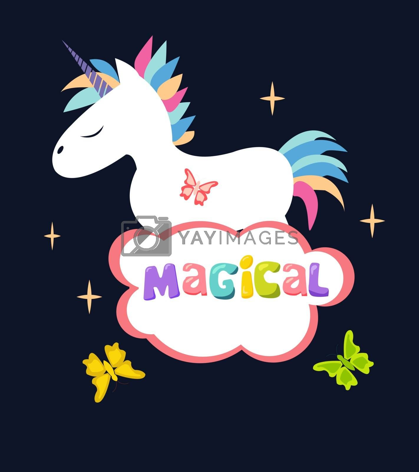 Cute Magical Unicorn isolated on dark background Vector Design. Design can be used for greeting cards, posters and party invitations