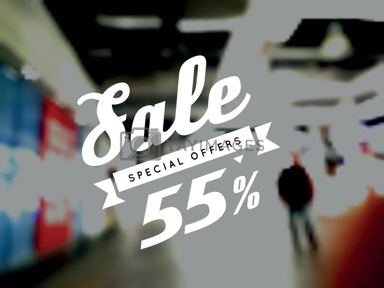 Sale, vector illustration on blurry background. Discounts and special offers