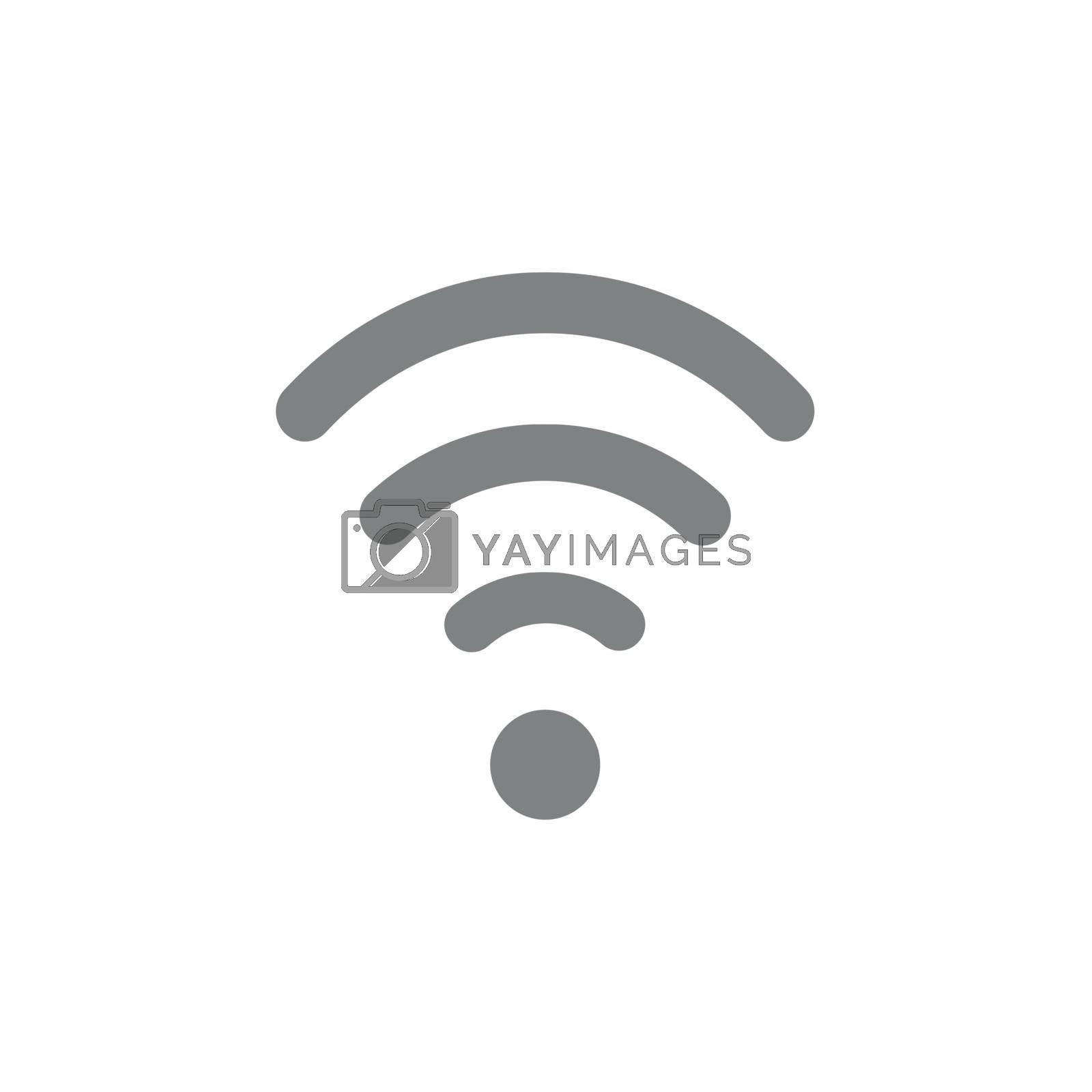 Flat design style vector illustration of grey wifi symbol icon on white background.