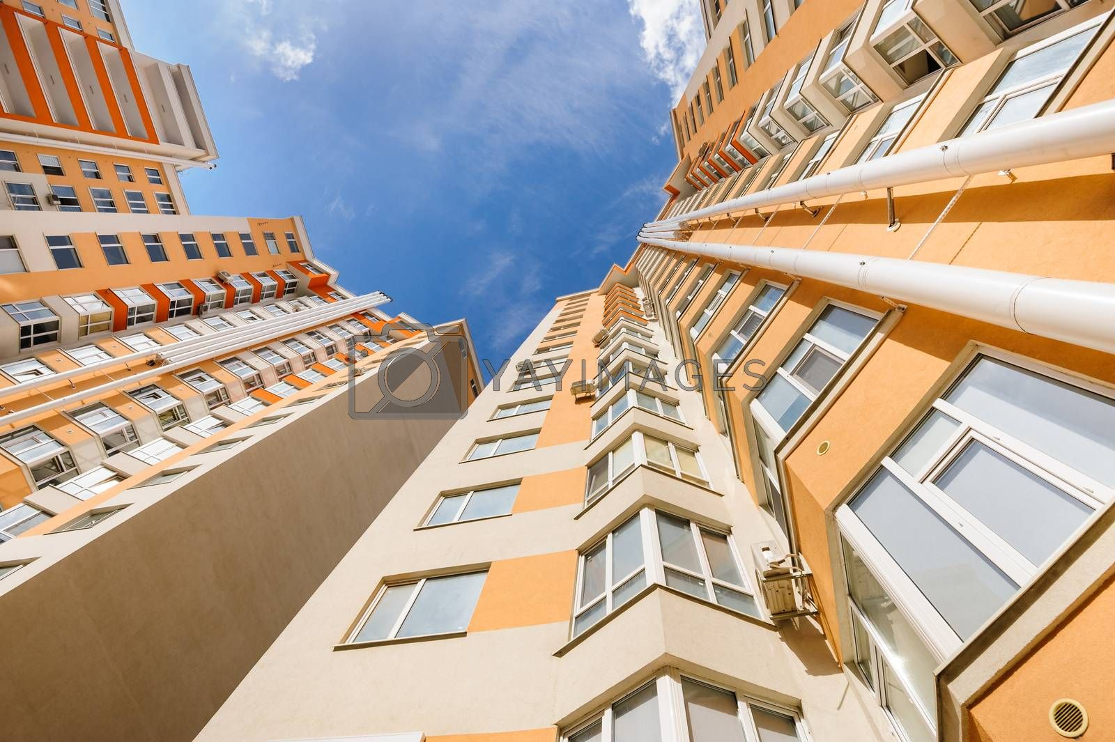 Wide angle shot of new apartments residential buildings exterior