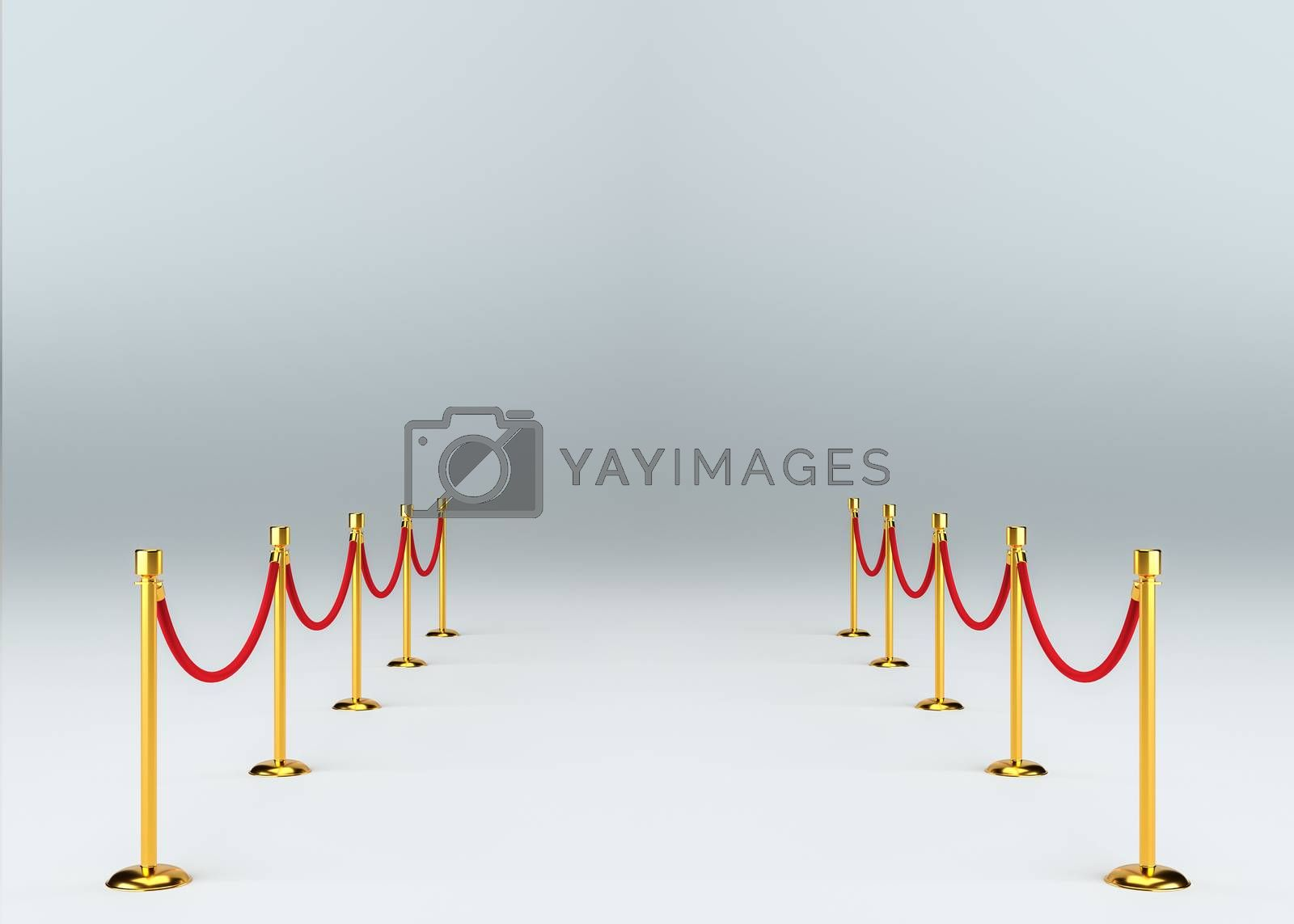 Studio interior with barrier. 3d illustration. Template for your design