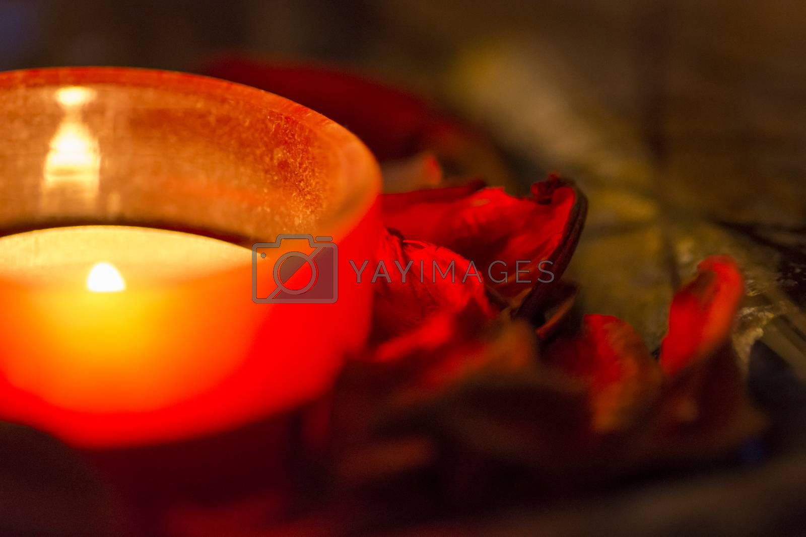 few candles in the table with romantic atmosphere