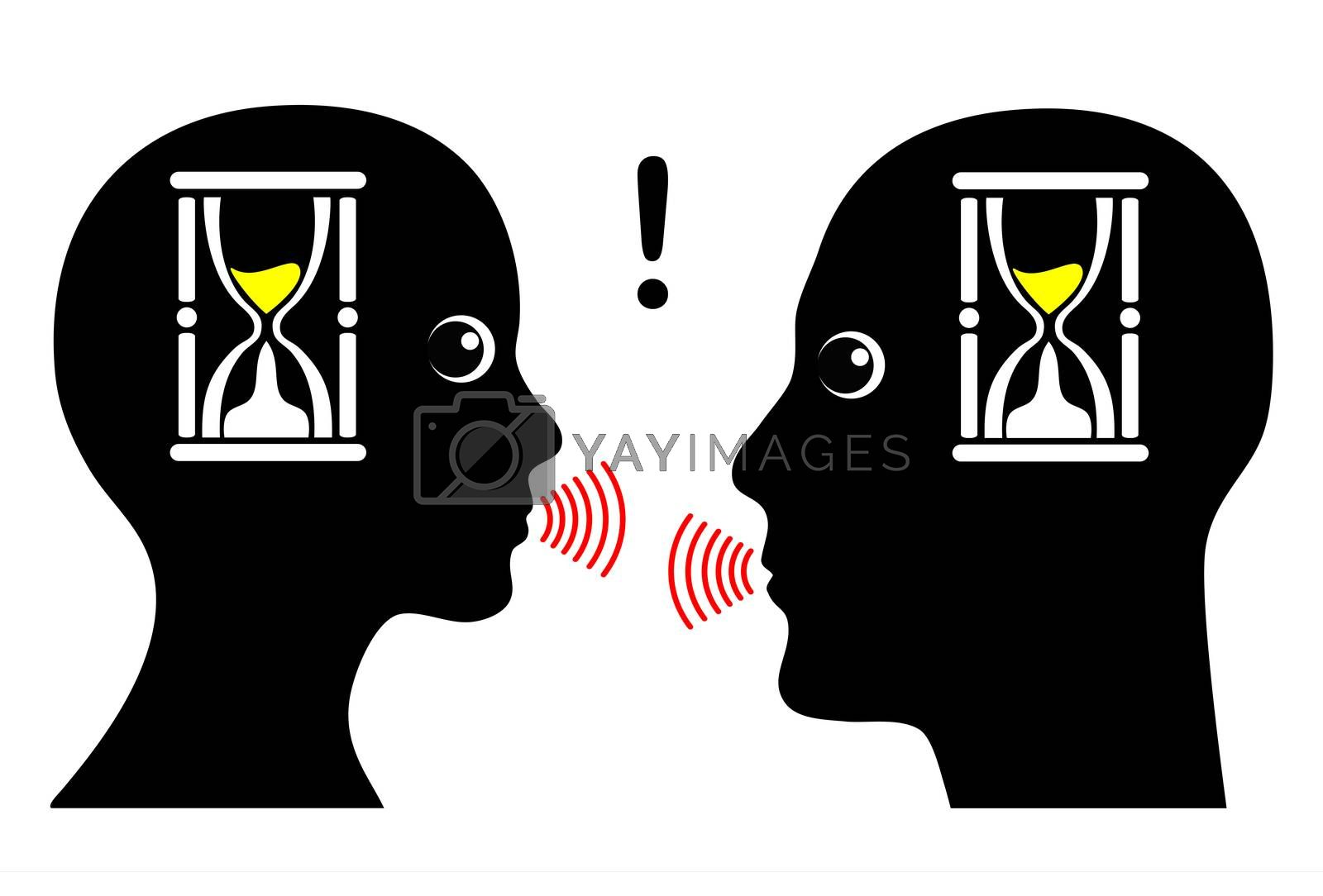 Two people talking under deadline pressure in business or private domain