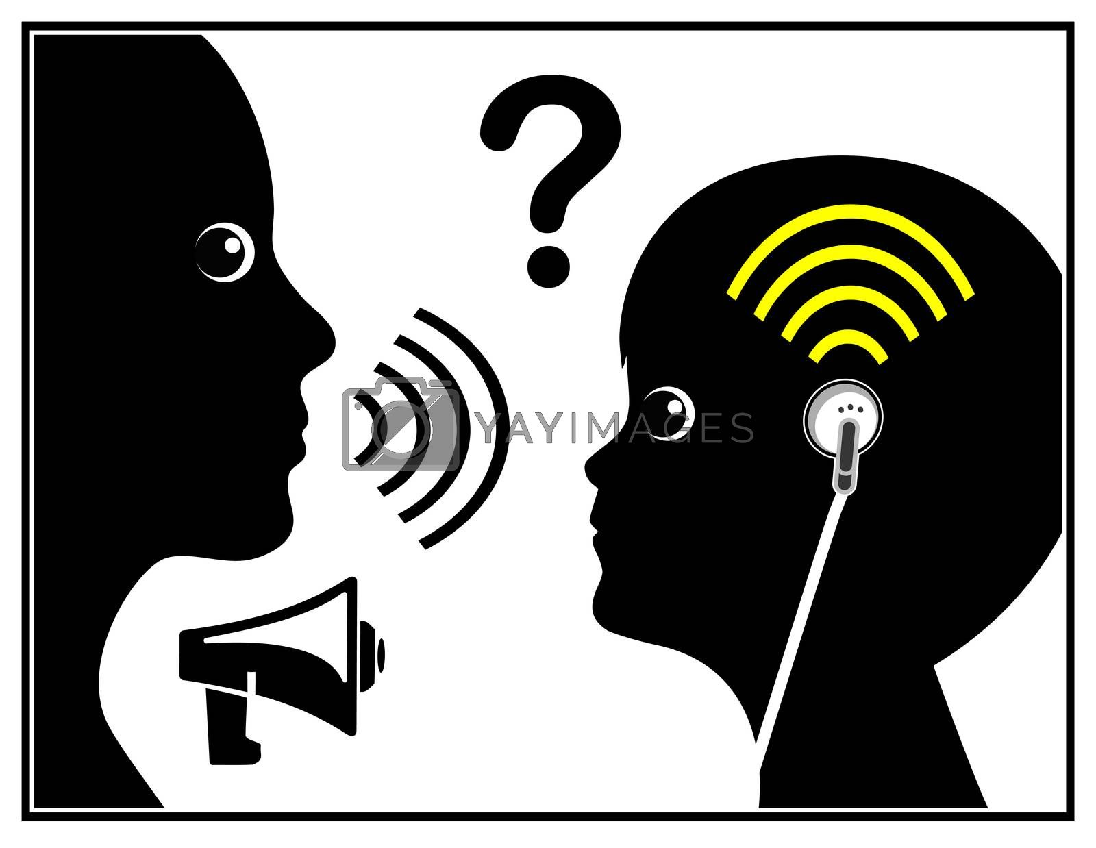 Concept sign of the generation deaf due to ear buds and loud music