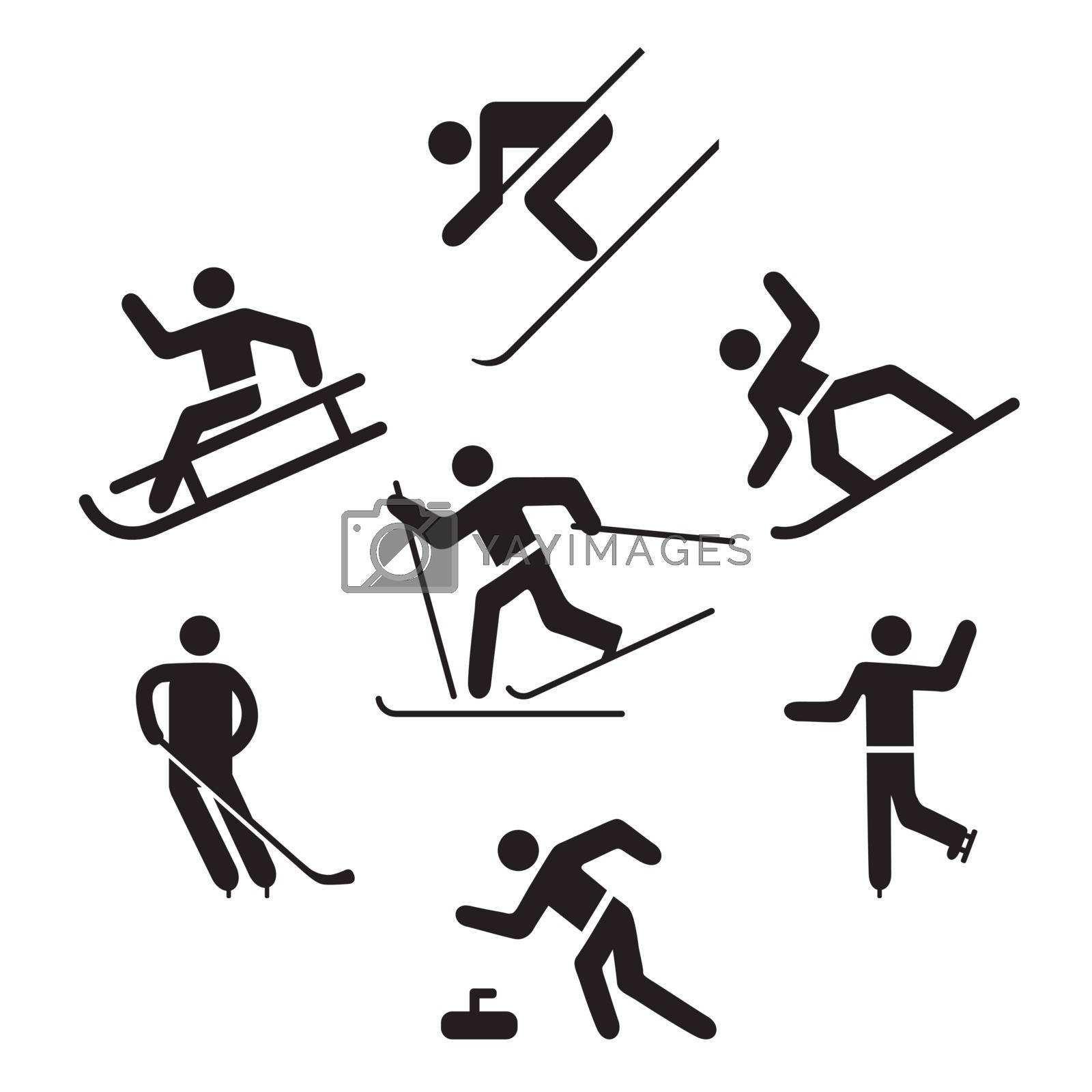 Winter sports Pictogram, Ice skating, Skiing,