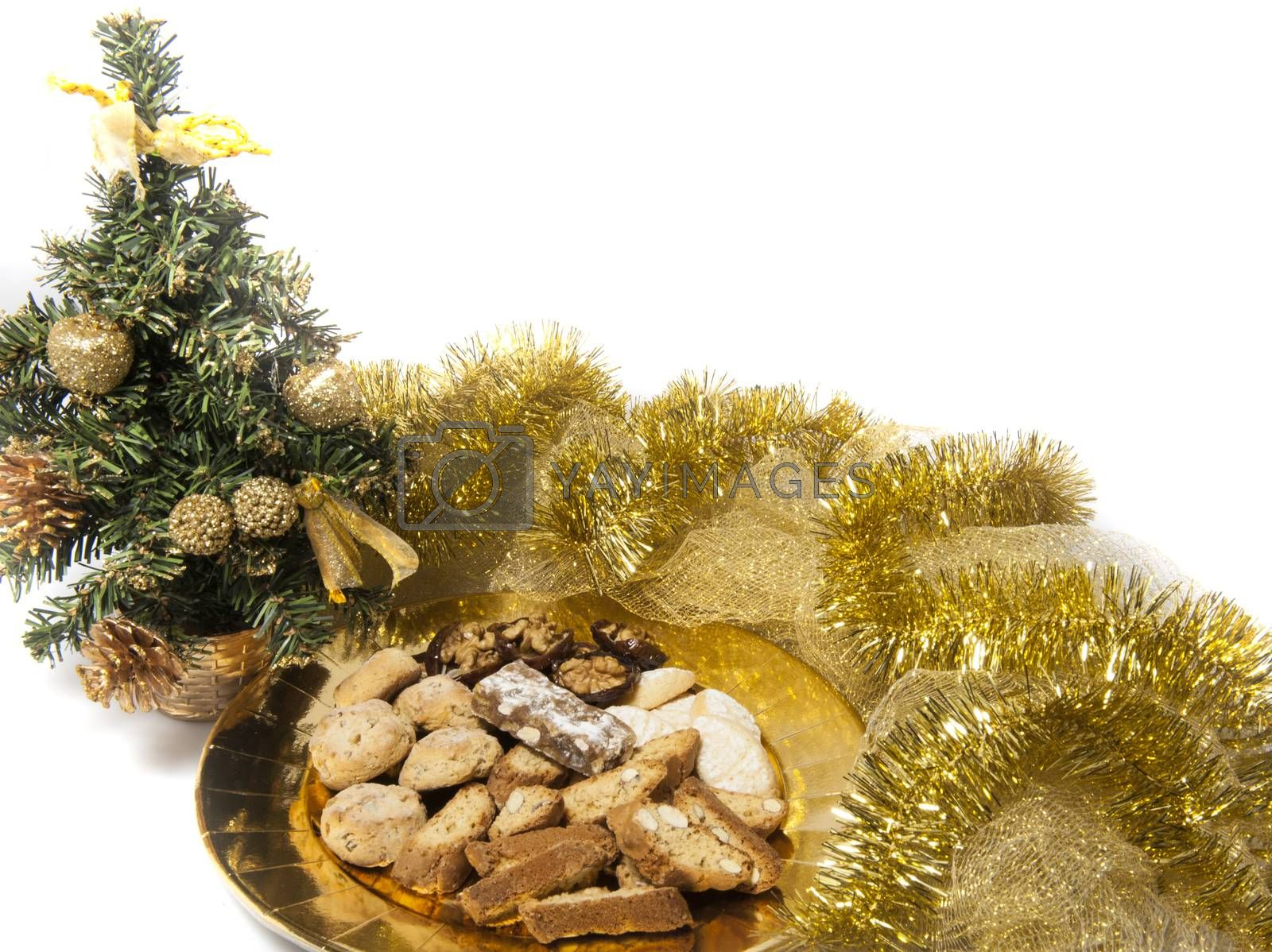 Christmas cookies over a golden plate by carla720