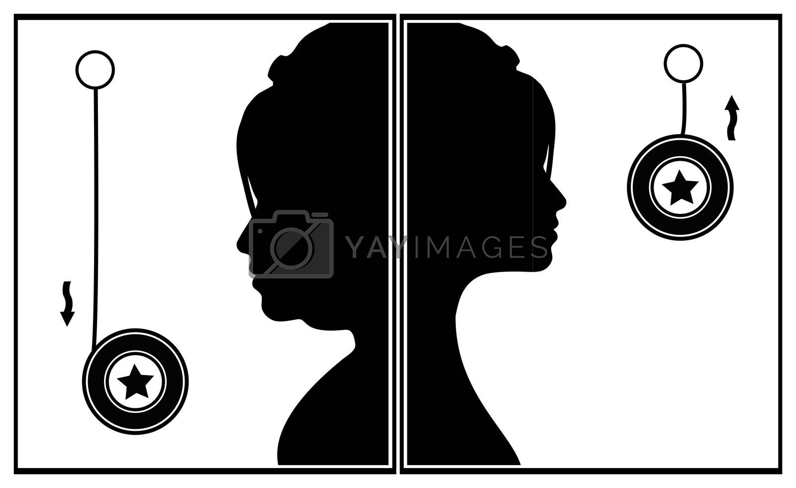 Concept sign of a woman suffering the weight cycle by losing and regaining weight
