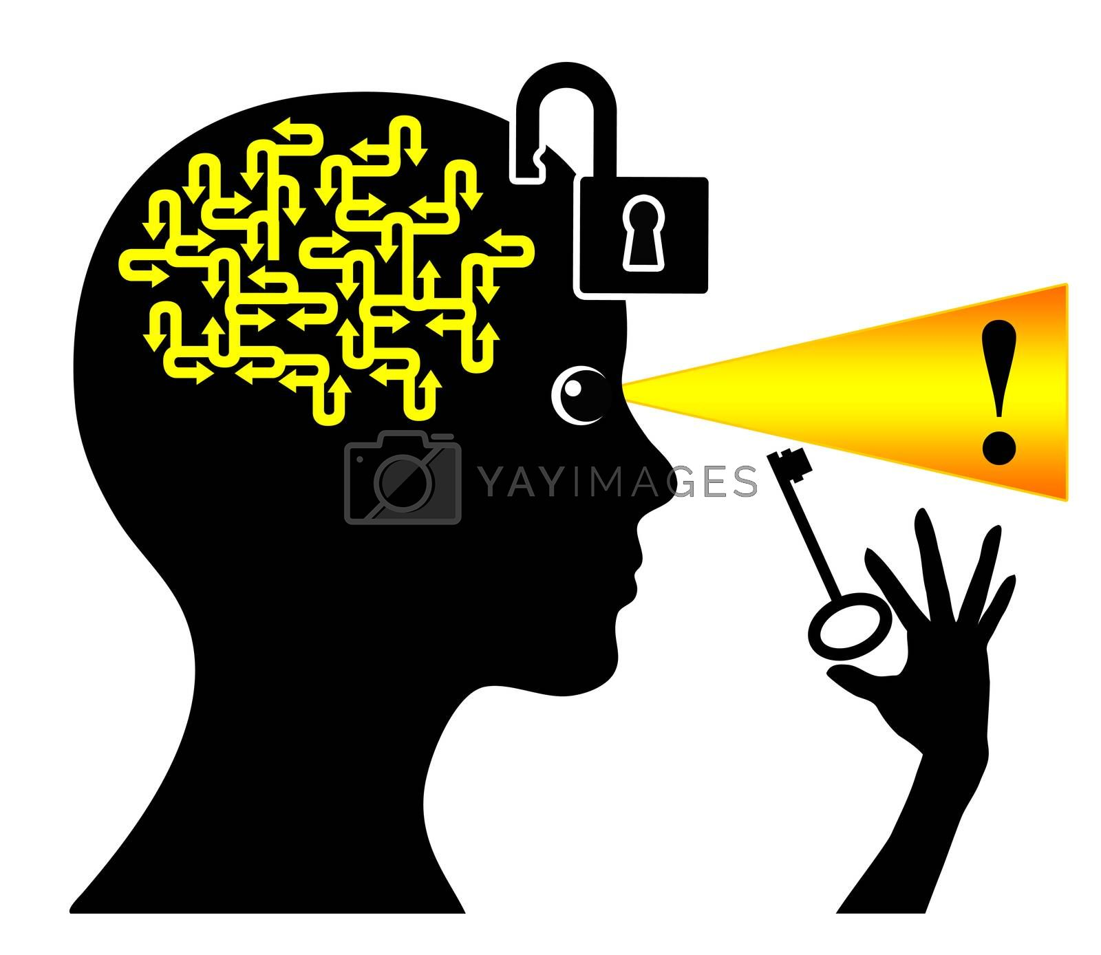 Concept sign of a woman who is using her brainpower to find the solution
