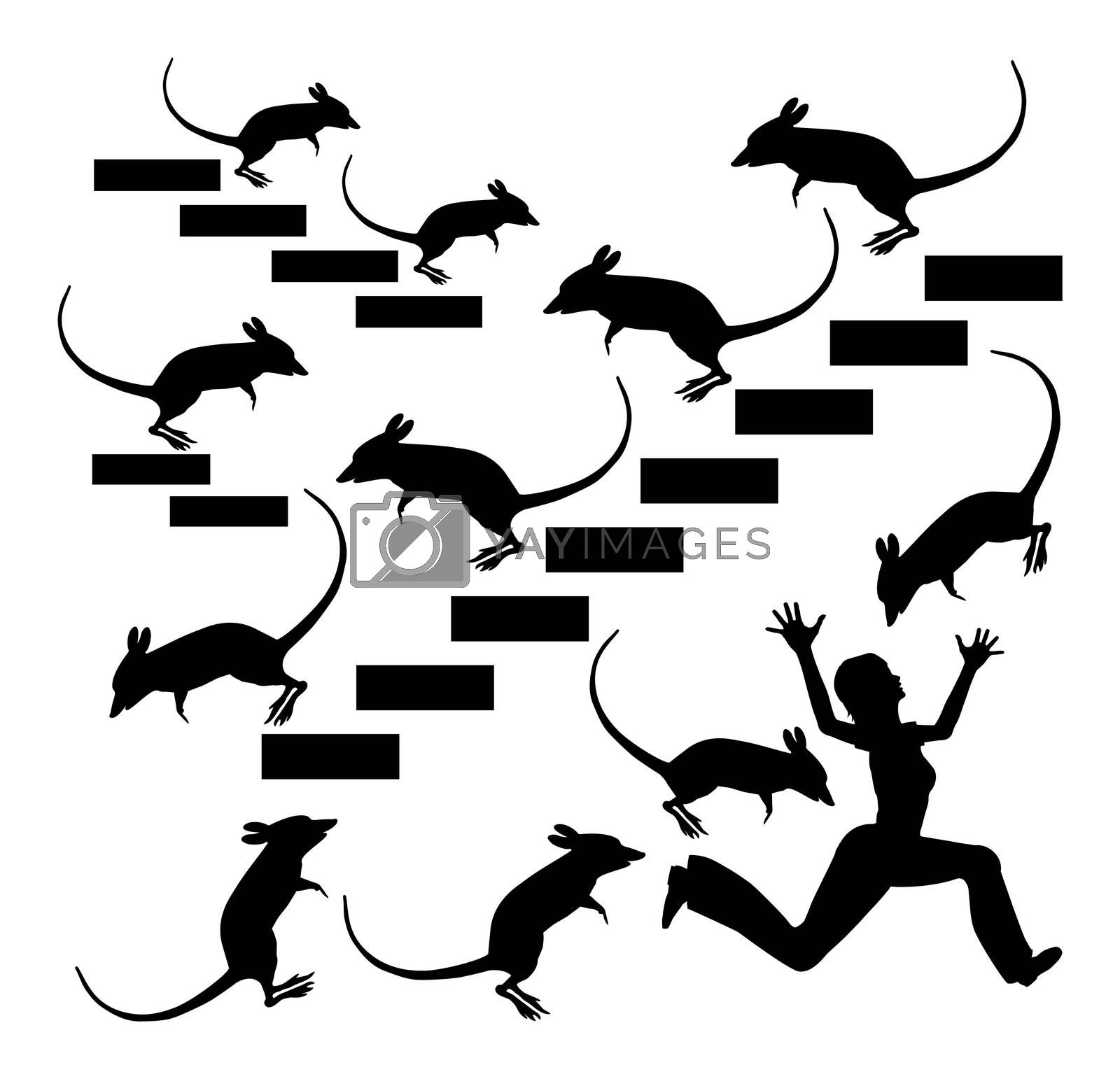 Humorous concept sign of a woman in panic suffering from mice and rat phobia