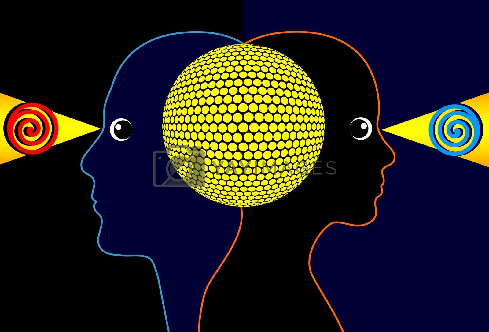 Concept sign of a mind to mind communication between two people
