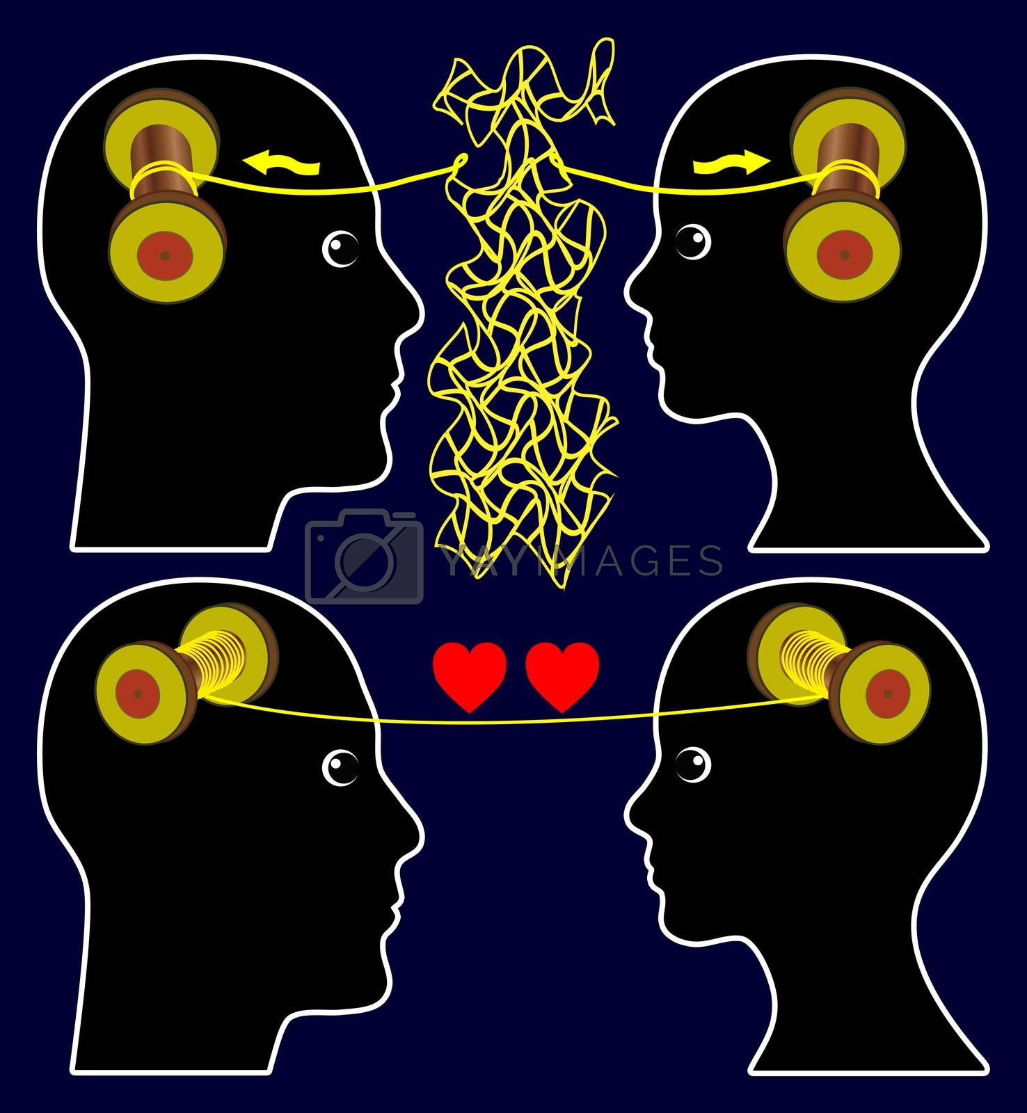 Concept sign of couple sharing and solving problems