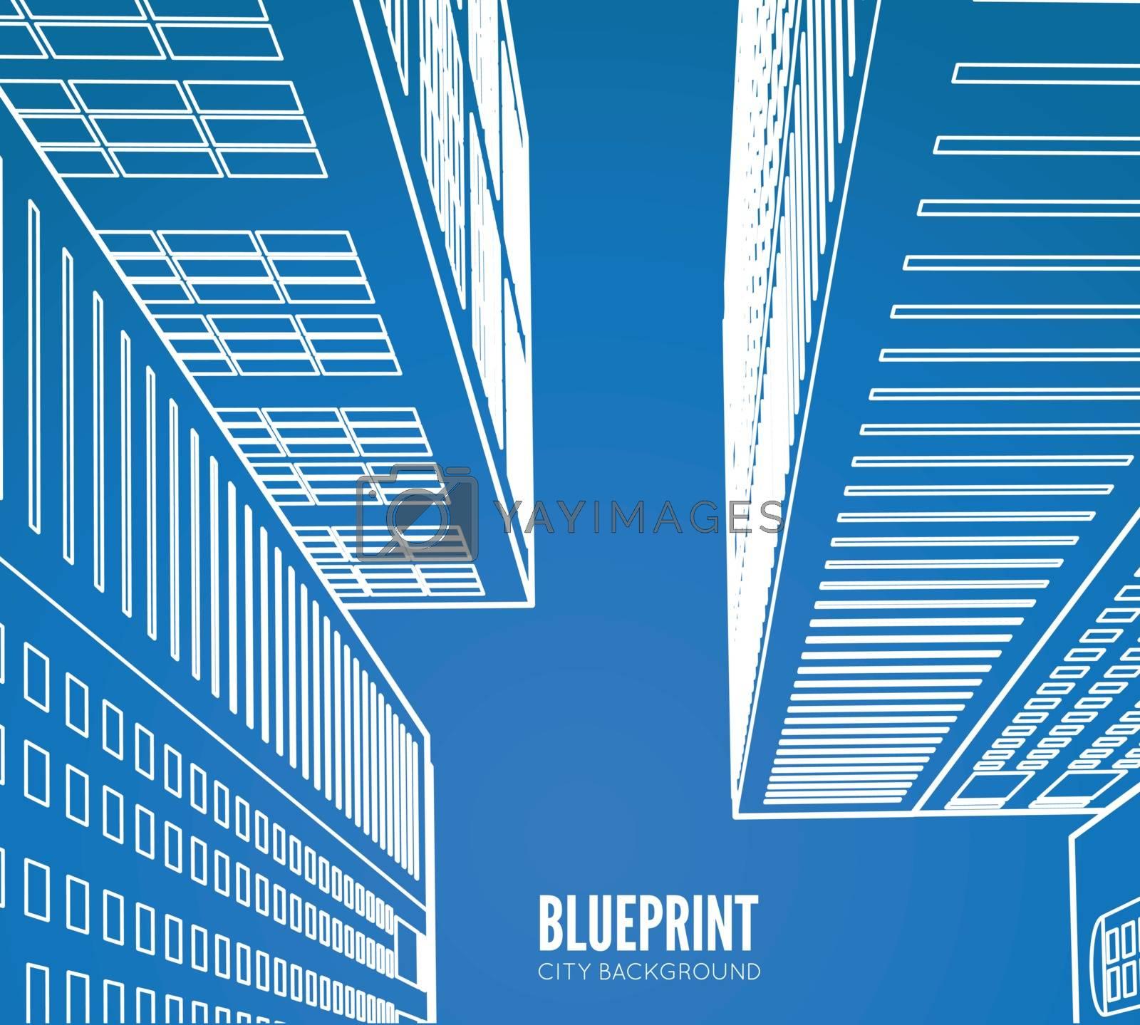 Building wireframe. 3d render city. Vector blueprint illustration