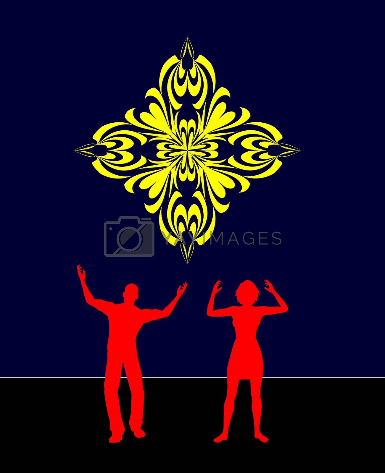 Concept sign of two people worshiping the Holy Cross