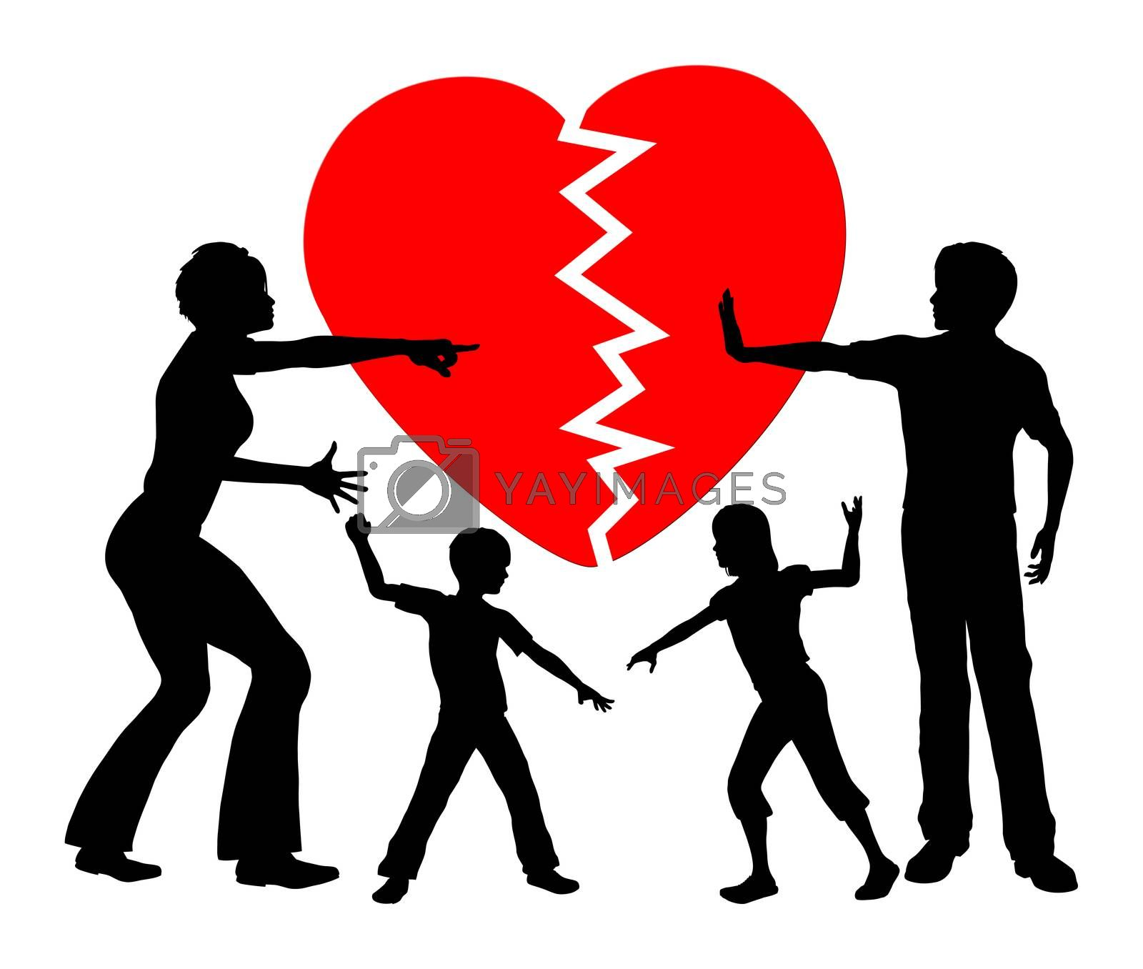 Concept sign of children getting emotional abused by divorced parents