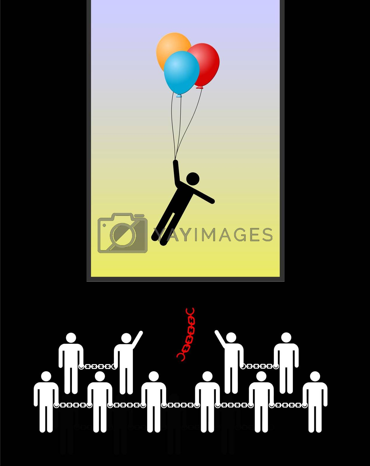 Concept sign and business metaphor of a highly gifted person outranking his peers and colleagues