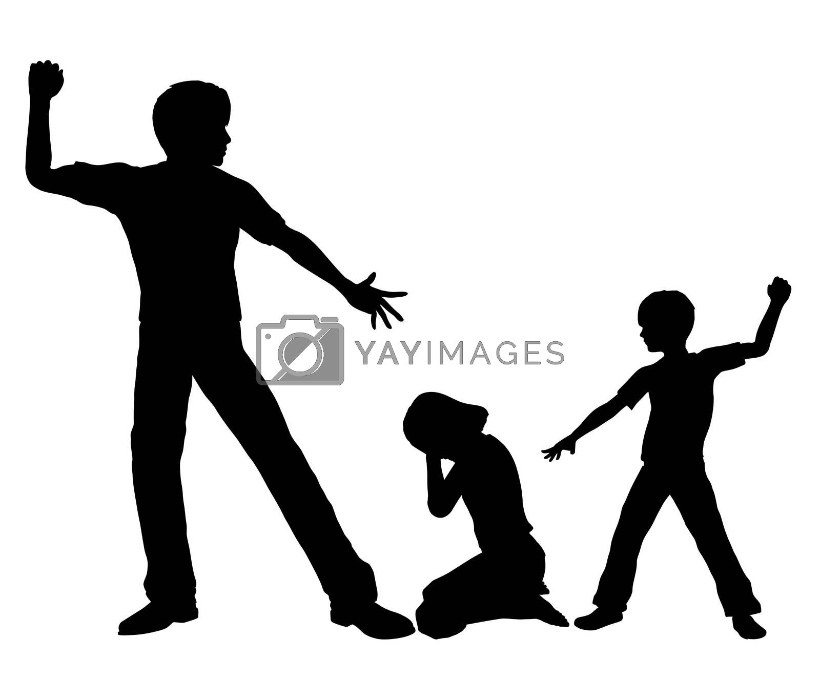 Concept sign of an adult person with negative influence on a boy by beating up small girl