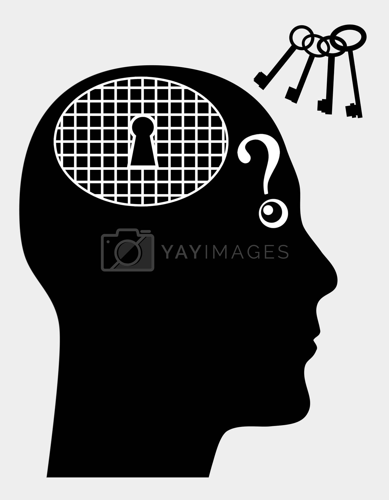 Concept sign of person suffering from mental illness like amnesia or dementia
