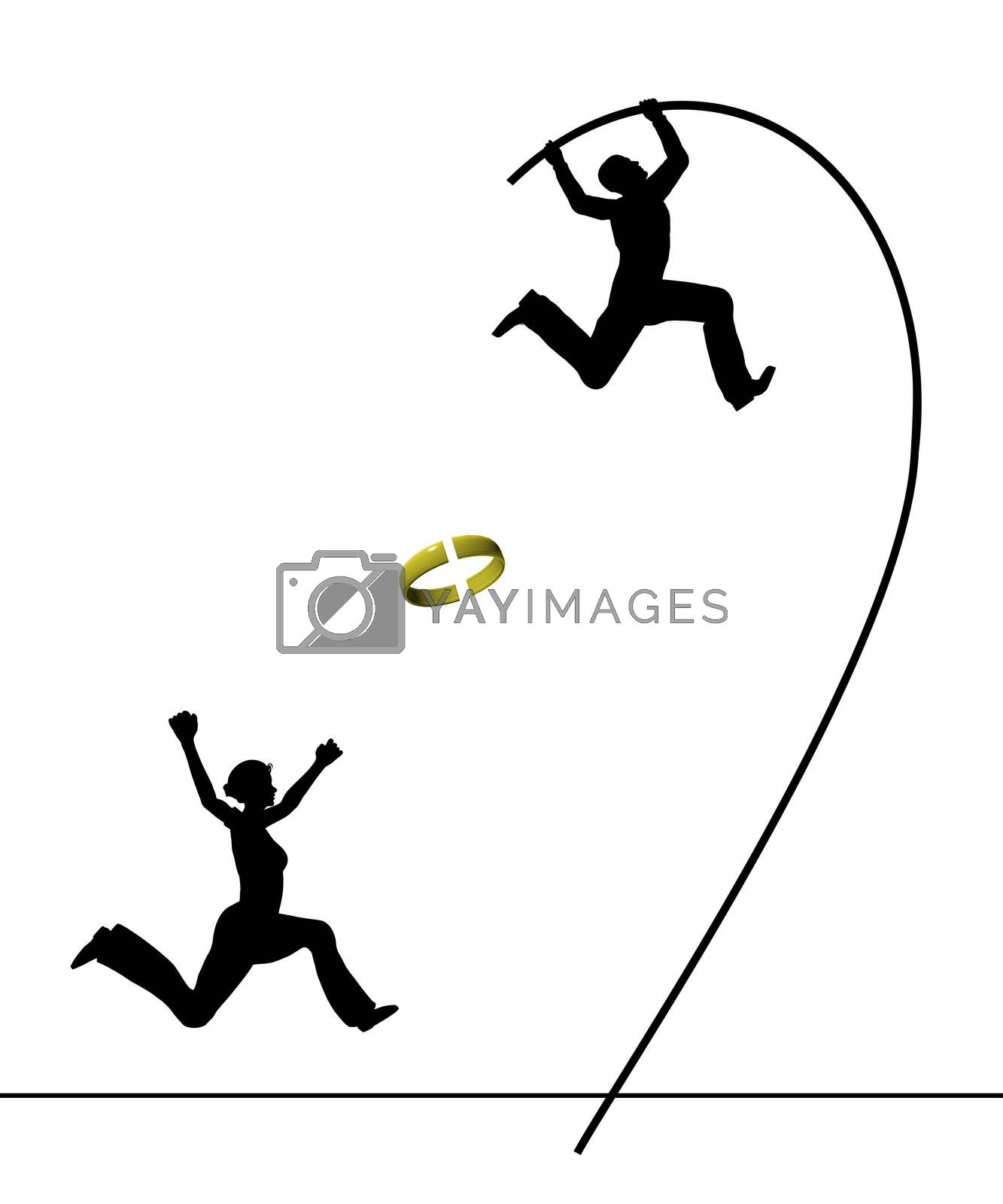 Humorous concept sign of a husband leaving his wife in panic who is running after him