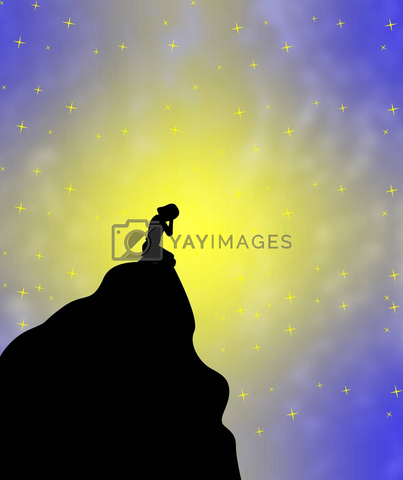Concept sign and symbol of depressed kid left alone on the peak of a mountain