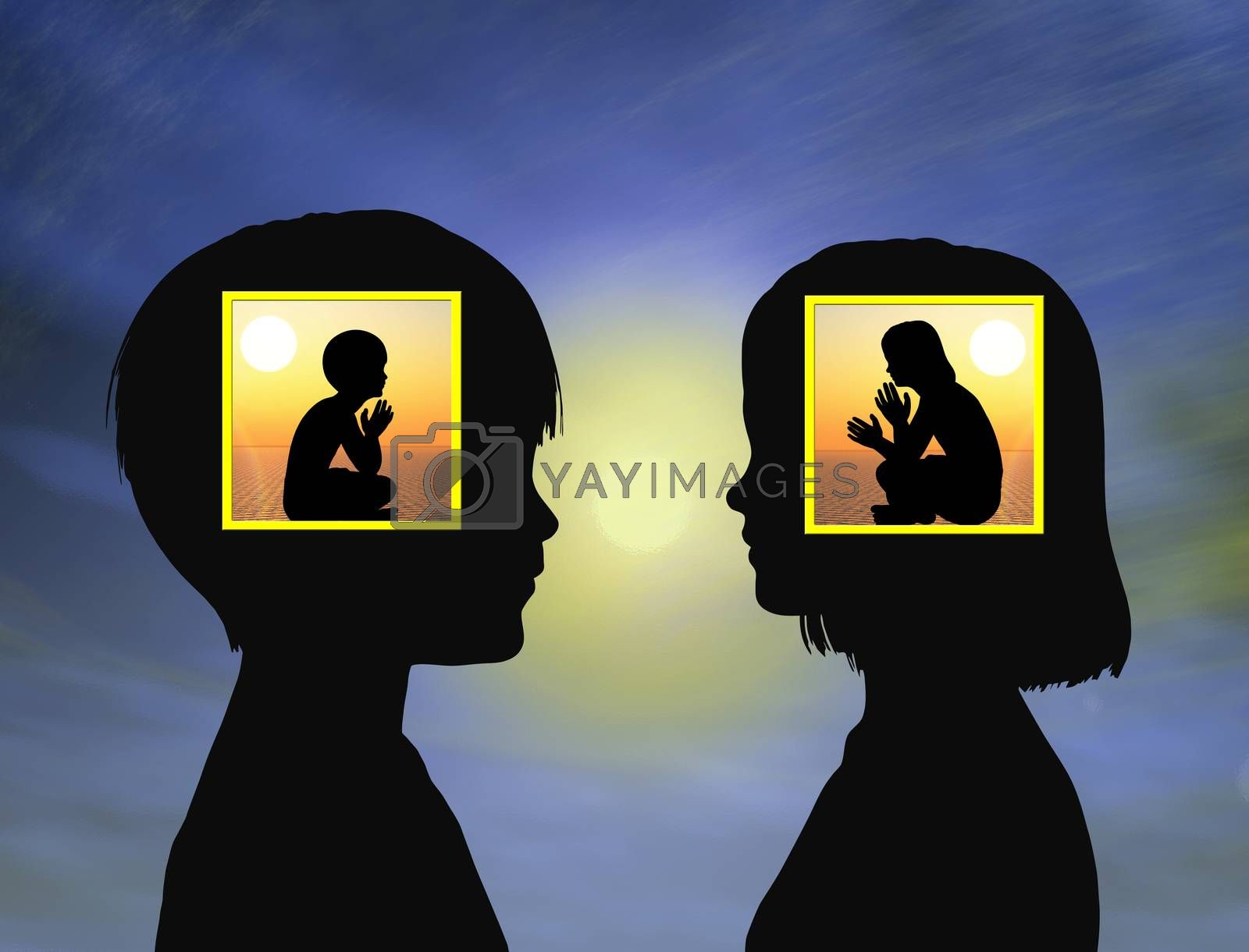 Girl and boy sharing mysteries in early childhood developing fantasy, social skills and imagination