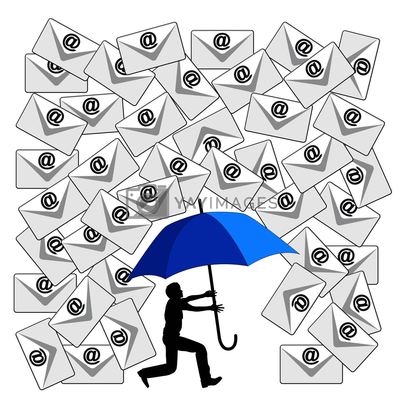 Humorous concept sign of the daily flood of e-mails at the workplace or in social media
