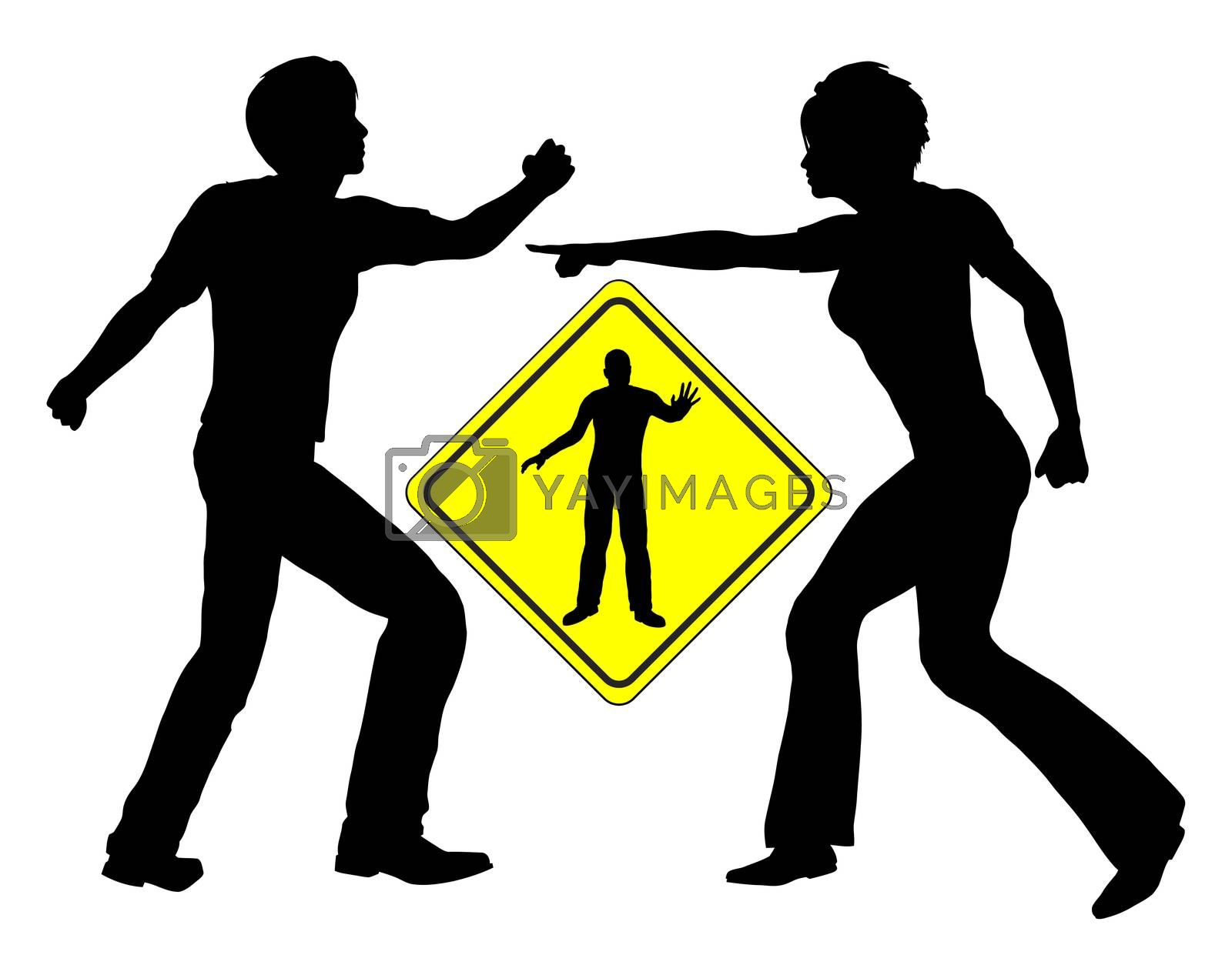 Concept sign of a mediator accommodating a quarrel between man and woman