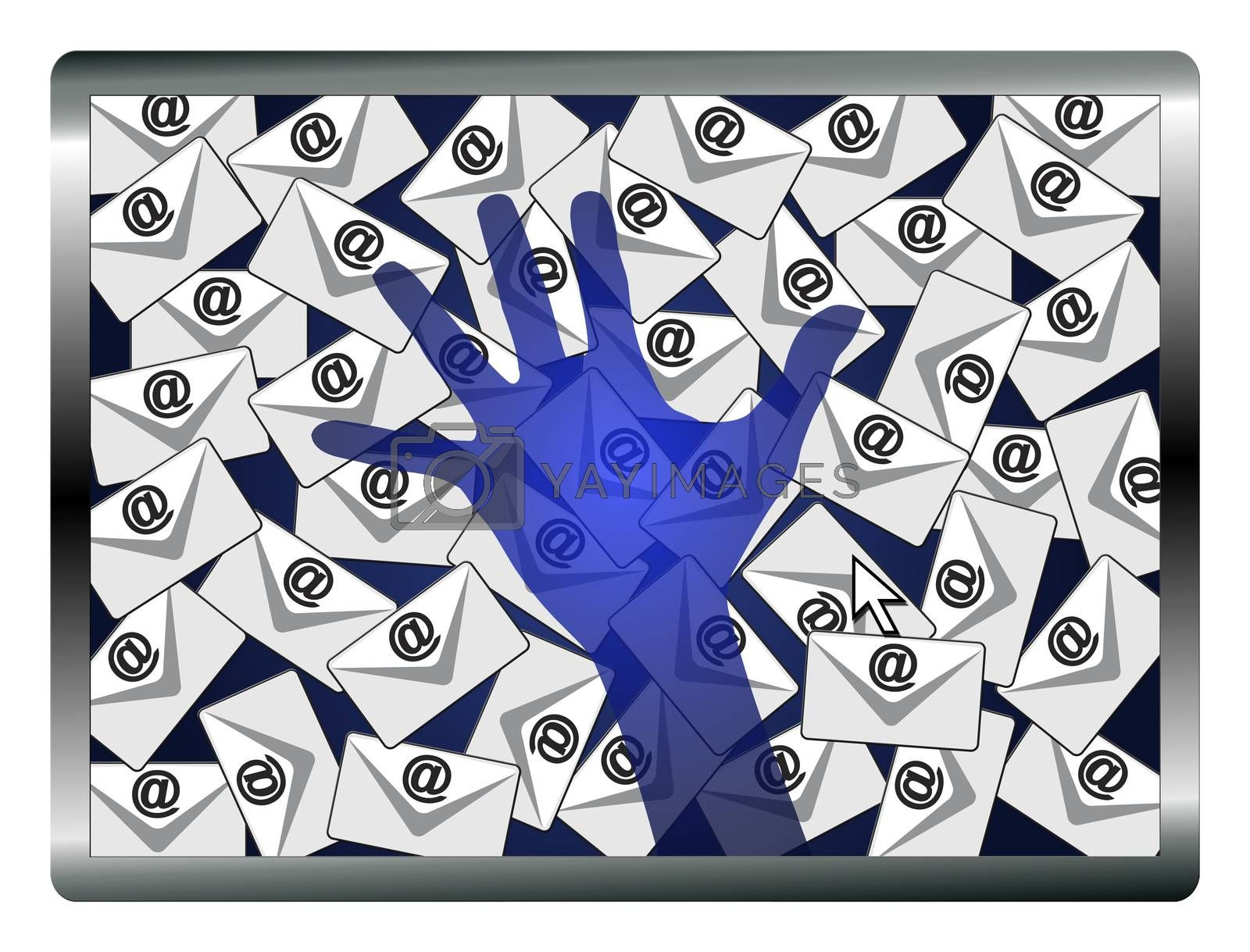 Concept sign of a security system monitoring computers and emails