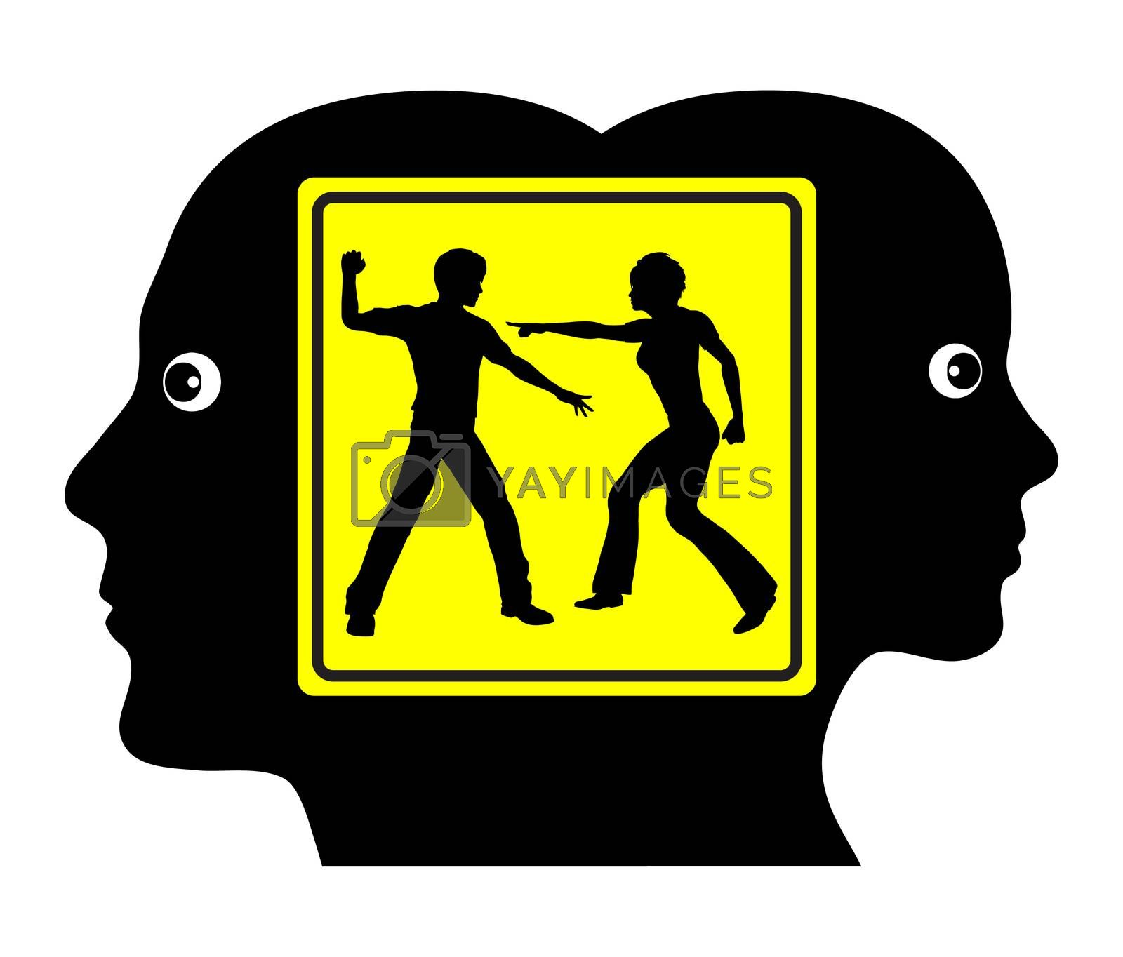 Concept sign of couple facing severe partnership problems due to lack of communication