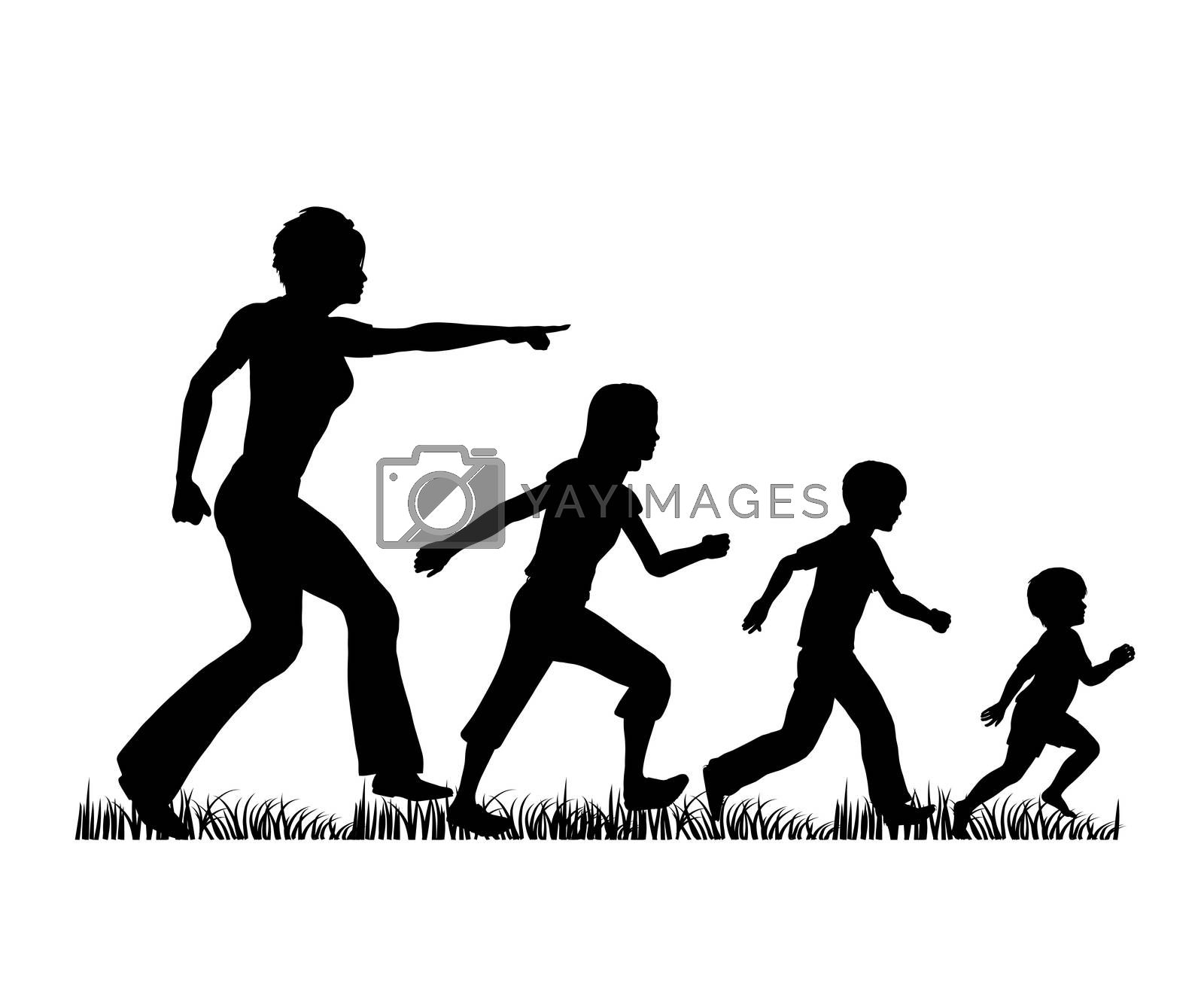 Concept sign with mother and three children observing the nature as an educational concept
