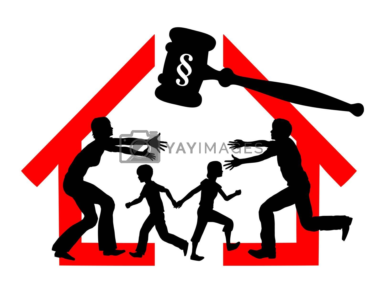 Court dealing with division of property and custody rights of kids