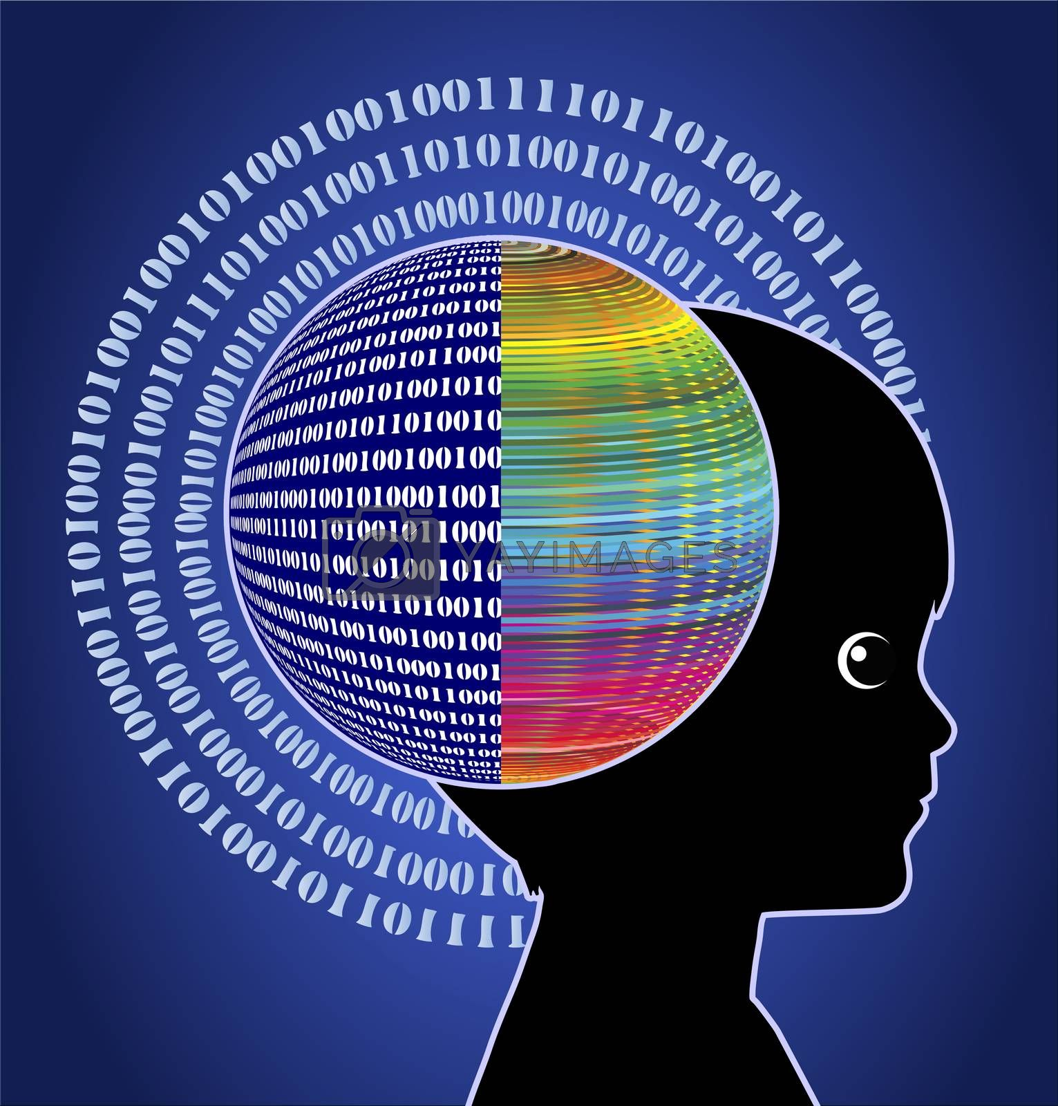 Concept sign of digital native with computer brain