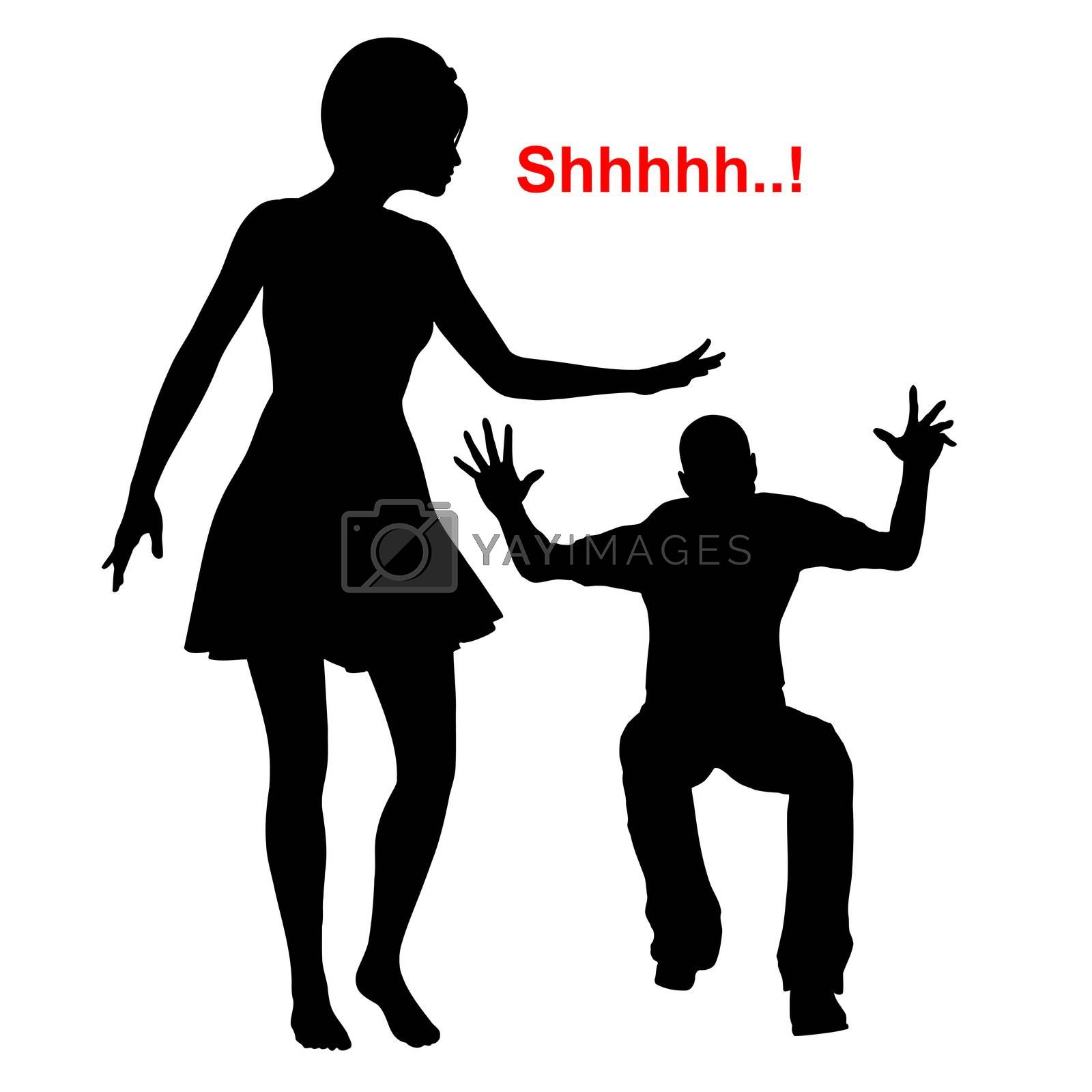 The man reacts aggressive and choleric, while the woman keeps calm and quietly