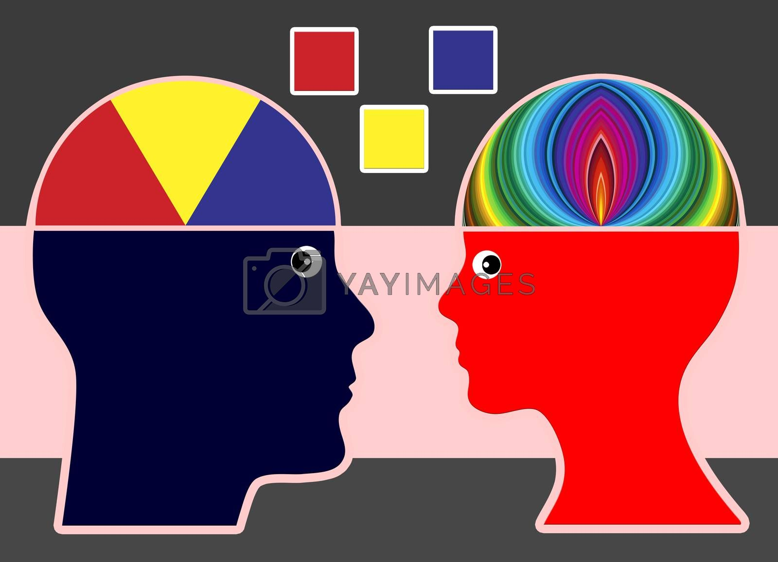 Man and woman with different preferences for fashion and colors