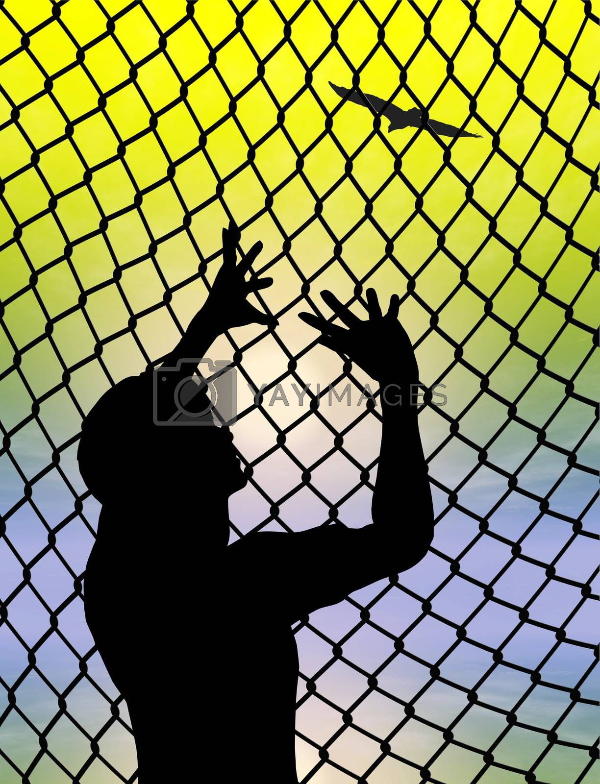 Eagle escaping from cage as symbol and metaphor for human freedom