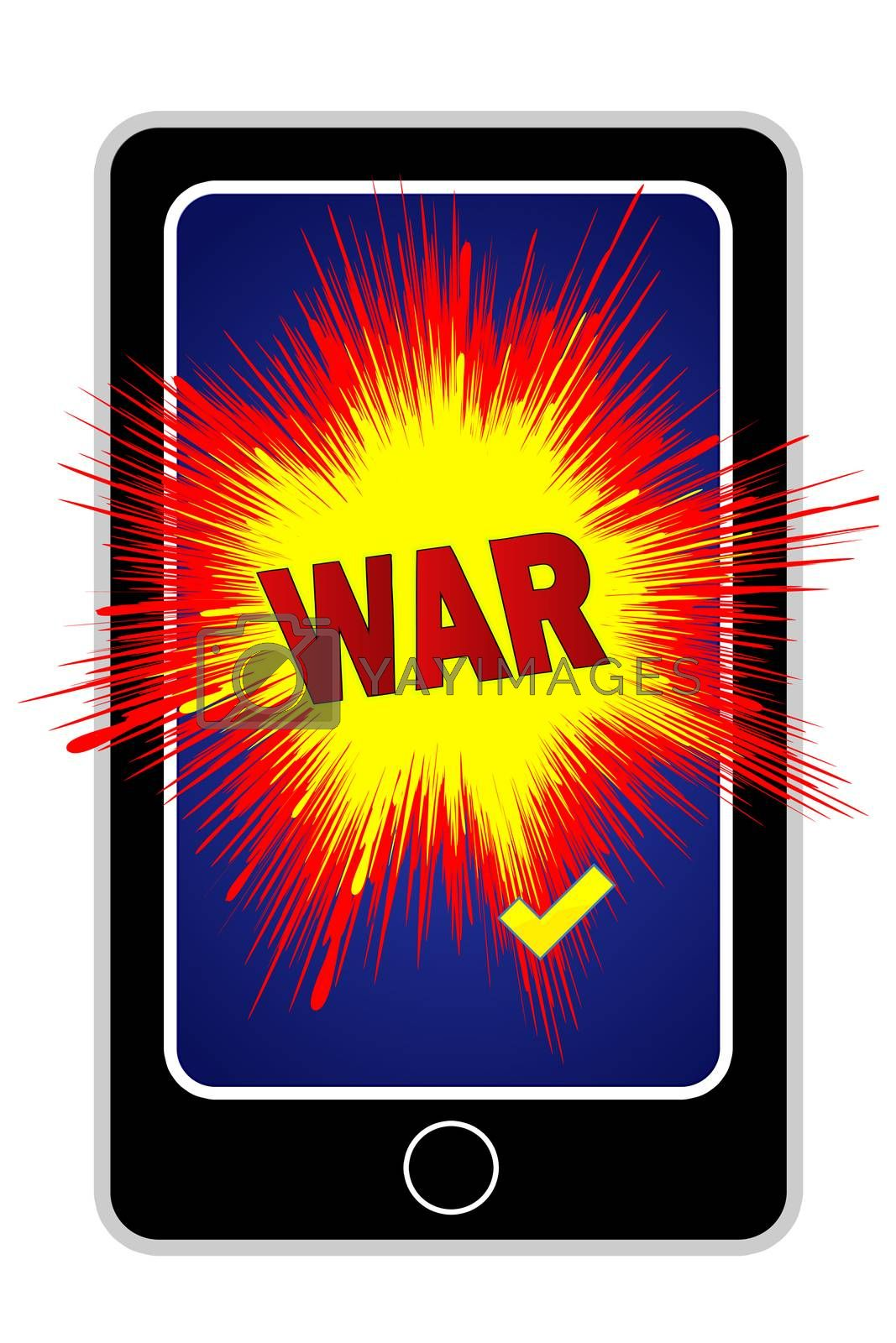 Concept sign for the growing risk of cyber attacks through cellphones
