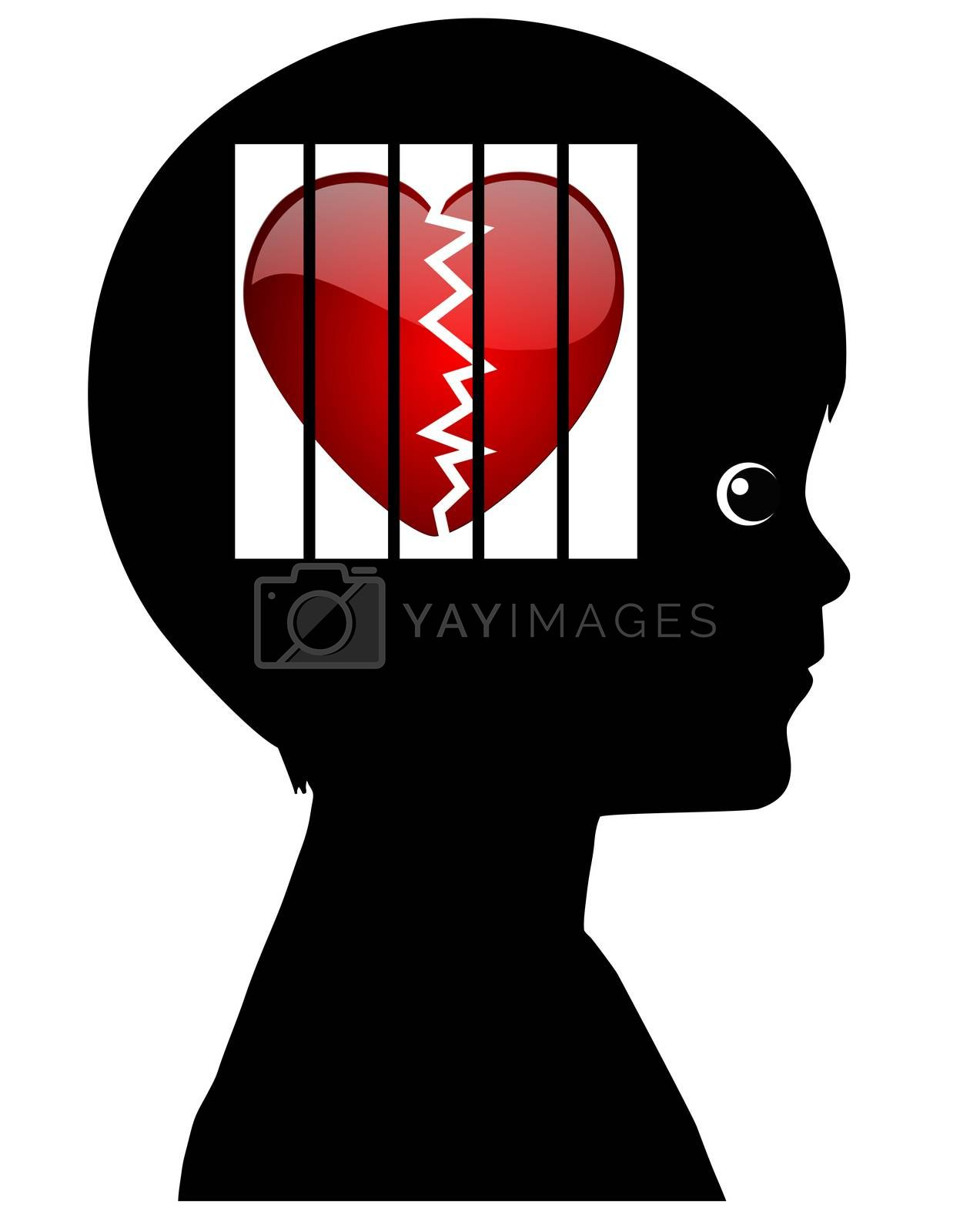 Concept sign of kid with emotional disability caused by abuse, divorce or any traumatic experience