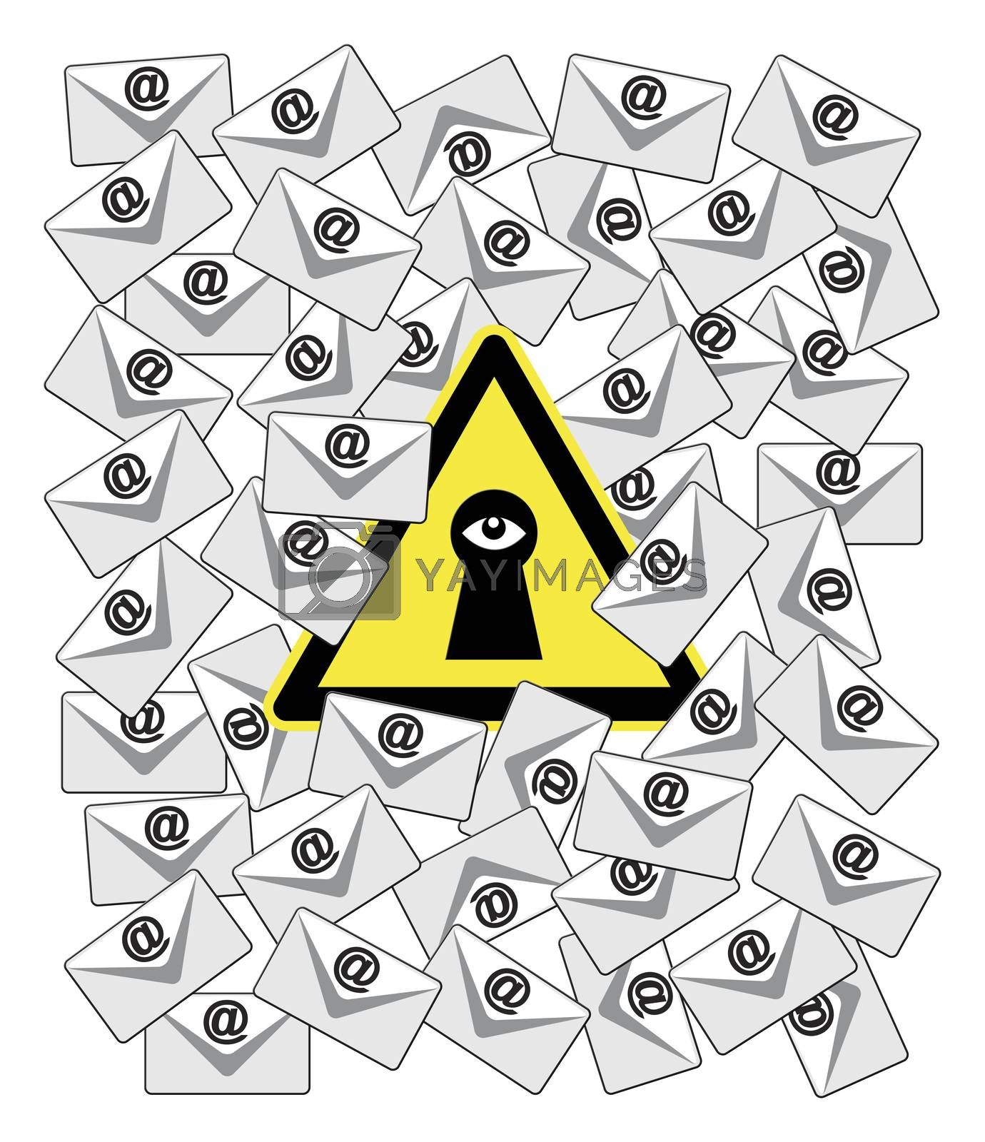 Concept sign of monitoring software which records and forwards incoming and outgoing emails