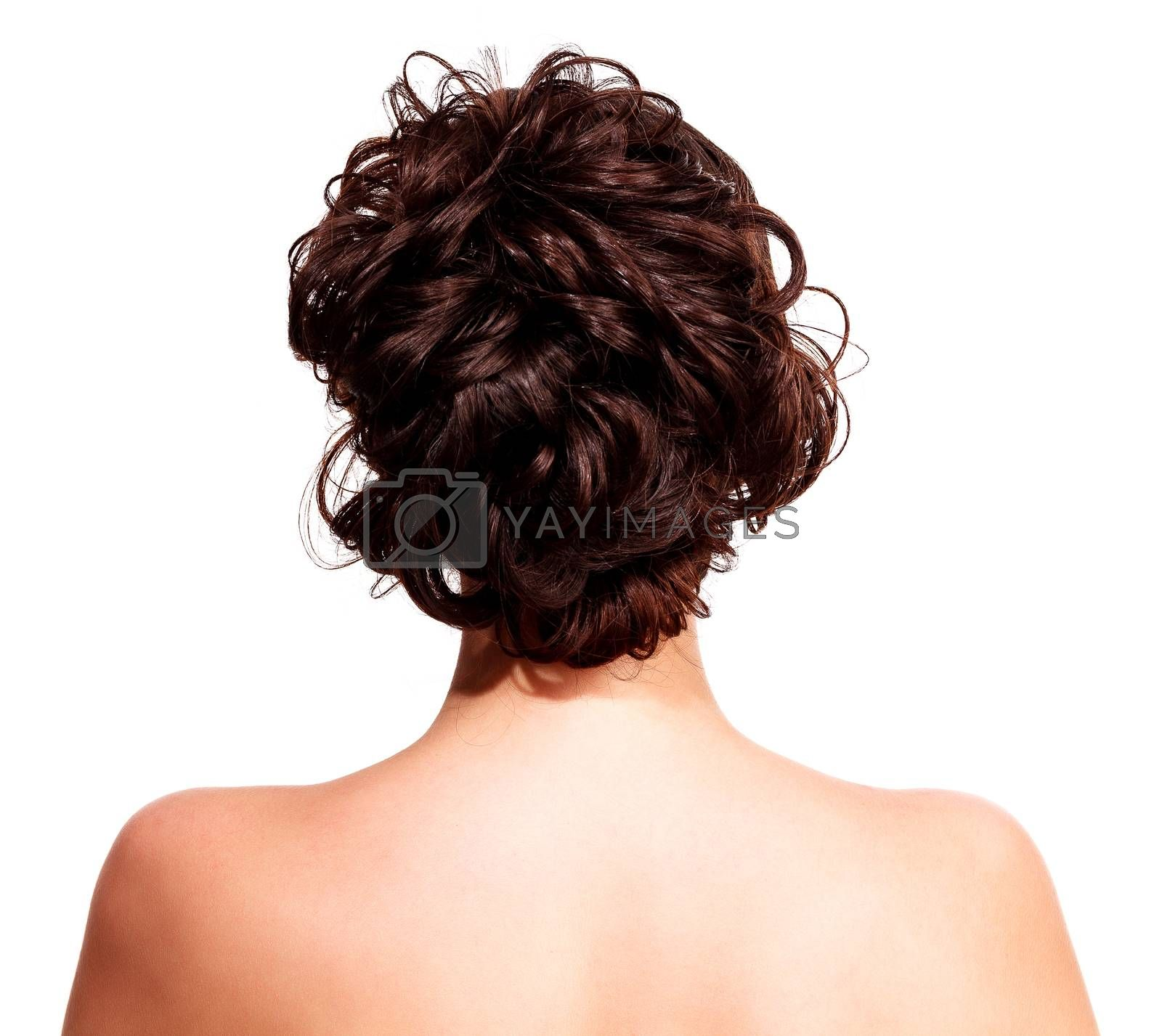Closeup shot of woman with style hairstyle, isolated on white background