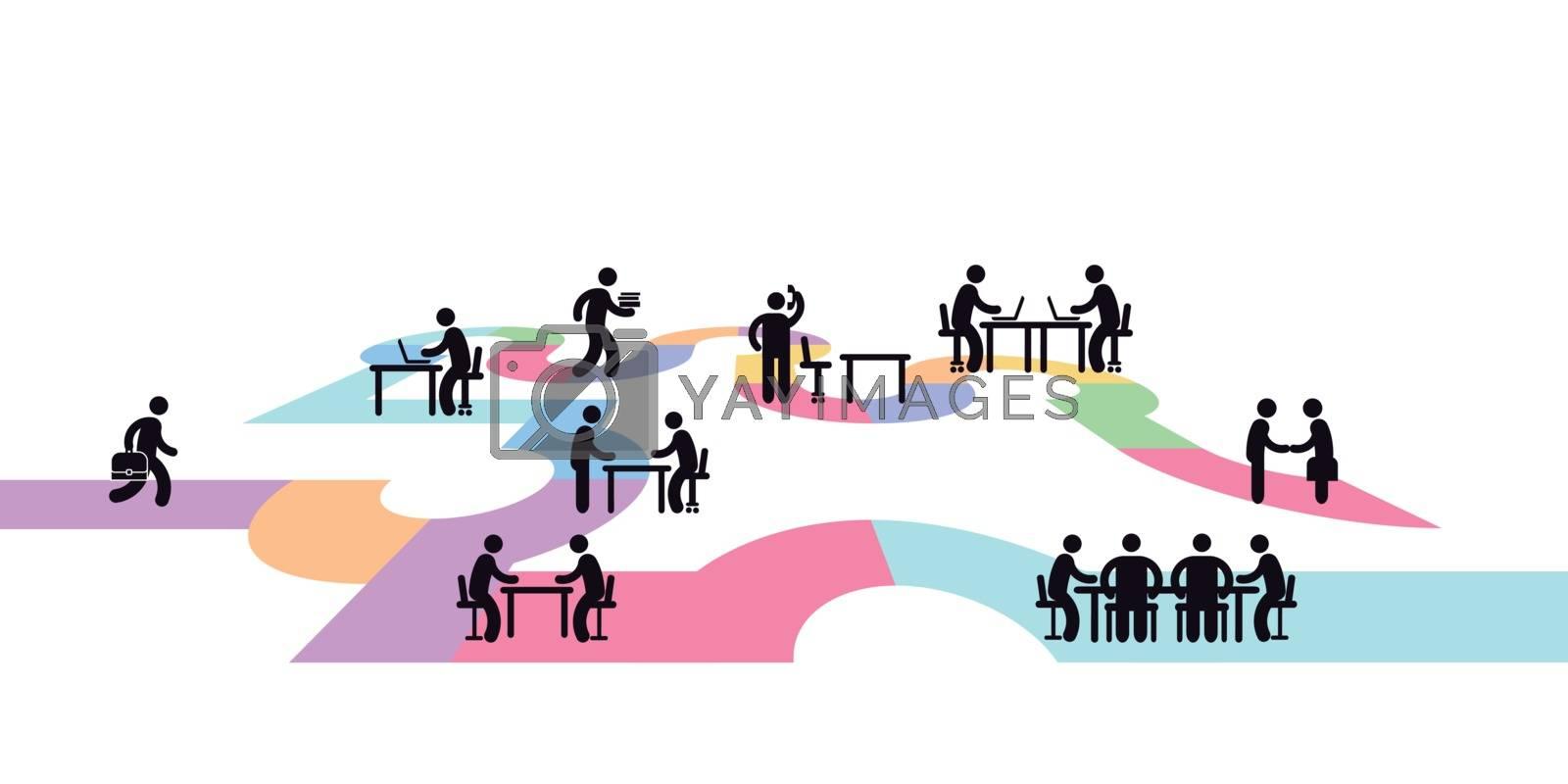 Workplace concept, pictogram illustration