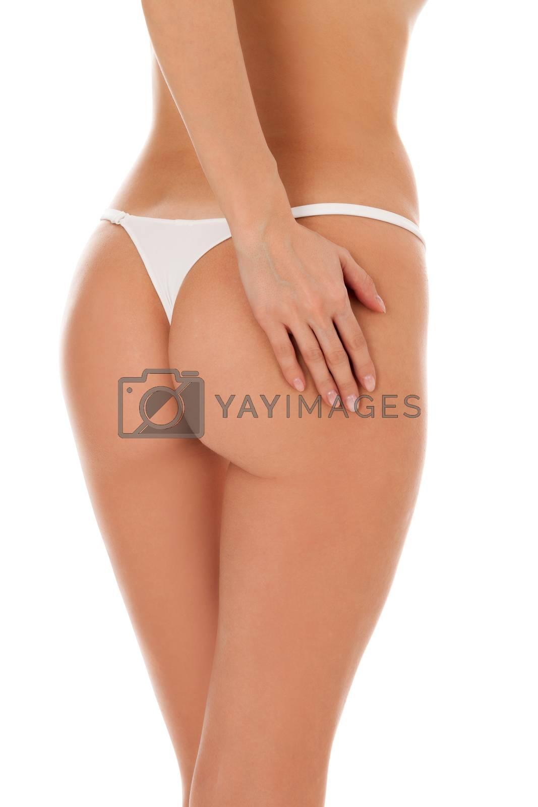 Closeup shot of beautiful female buttocks, isolated on white background