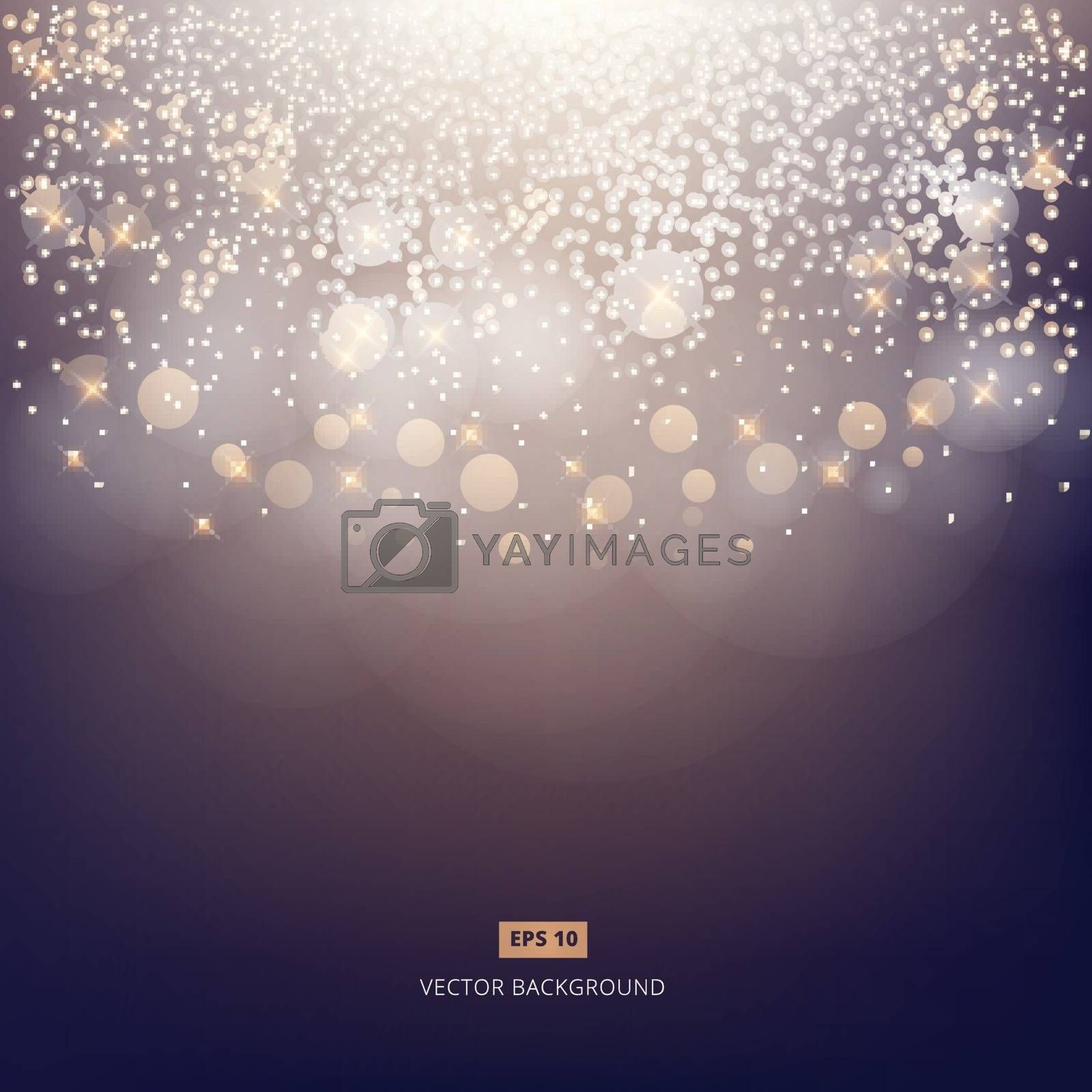 Abstract elegant shining dark background with bokeh, lights and fog background. Vector illustration